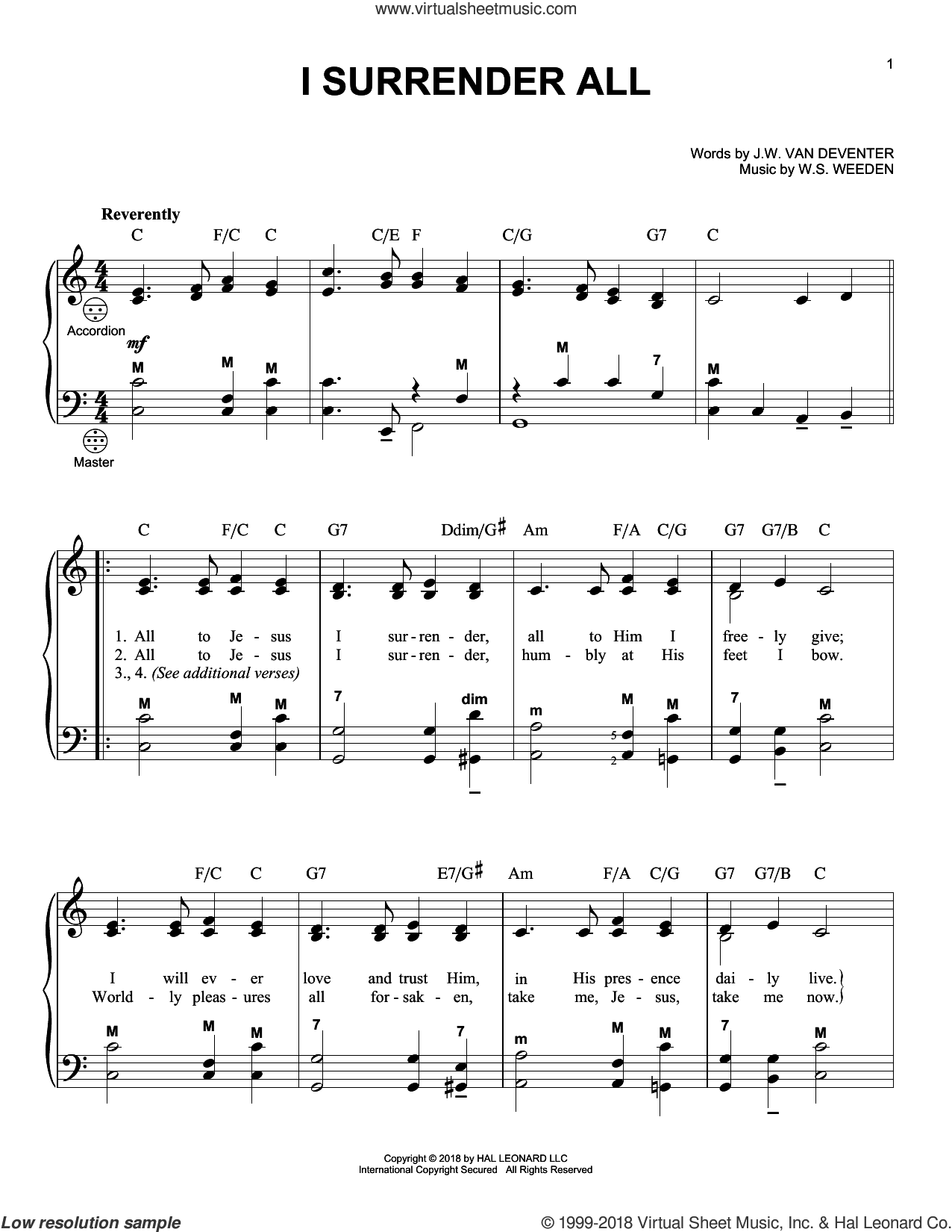 I Surrender All sheet music for accordion by Judson W. Van De Venter, Gary Meisner and Winfield S. Weeden, intermediate skill level
