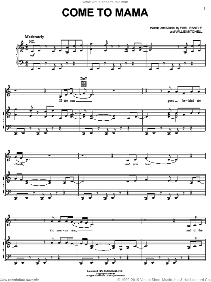 Come To Mama sheet music for voice, piano or guitar by Etta James, Ann Peebles, Earl Randle and Willie Mitchell, intermediate skill level
