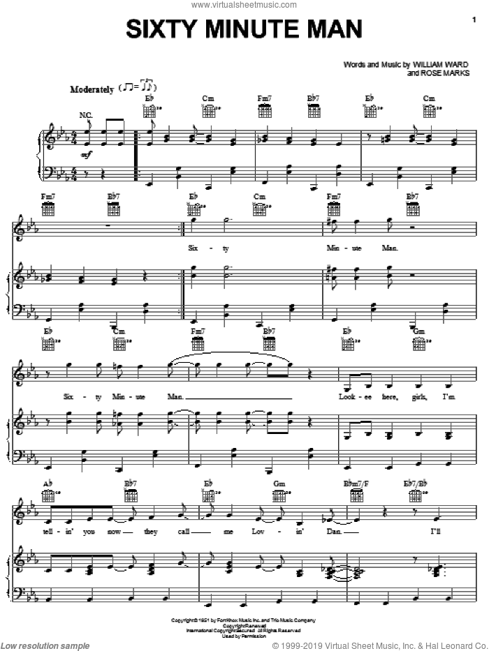 Sixty Minute Man sheet music for voice, piano or guitar by William Ward. Score Image Preview.