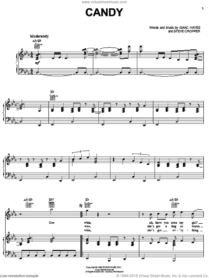 Candy sheet music for voice, piano or guitar by The Astors, Isaac Hayes and Steve Cropper, intermediate skill level