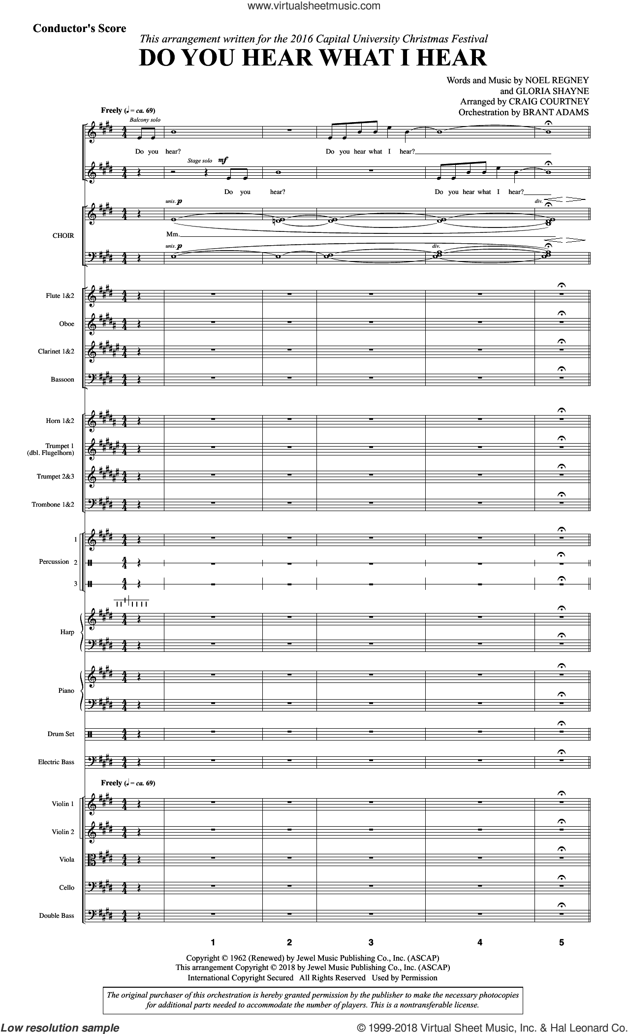 Do You Hear What I Hear (arr. Craig Courtney), complete set of parts (COMPLETE) sheet music for orchestra by Gloria Shayne, Craig Courtney and Noel Regney, intermediate skill level