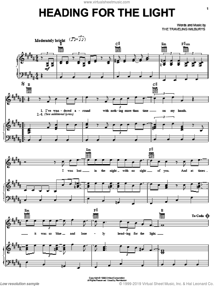 Heading For The Light sheet music for voice, piano or guitar by The Traveling Wilburys, Bob Dylan, George Harrison, Jeff Lynne, Roy Orbison and Tom Petty, intermediate. Score Image Preview.