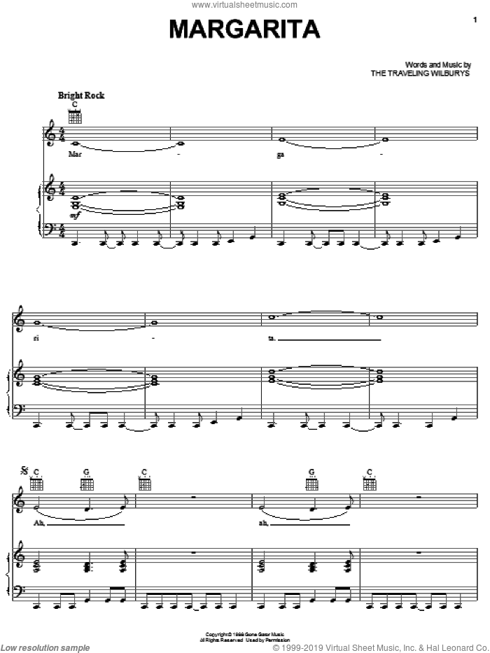Margarita sheet music for voice, piano or guitar by The Traveling Wilburys, Bob Dylan, George Harrison, Jeff Lynne, Roy Orbison and Tom Petty, intermediate skill level