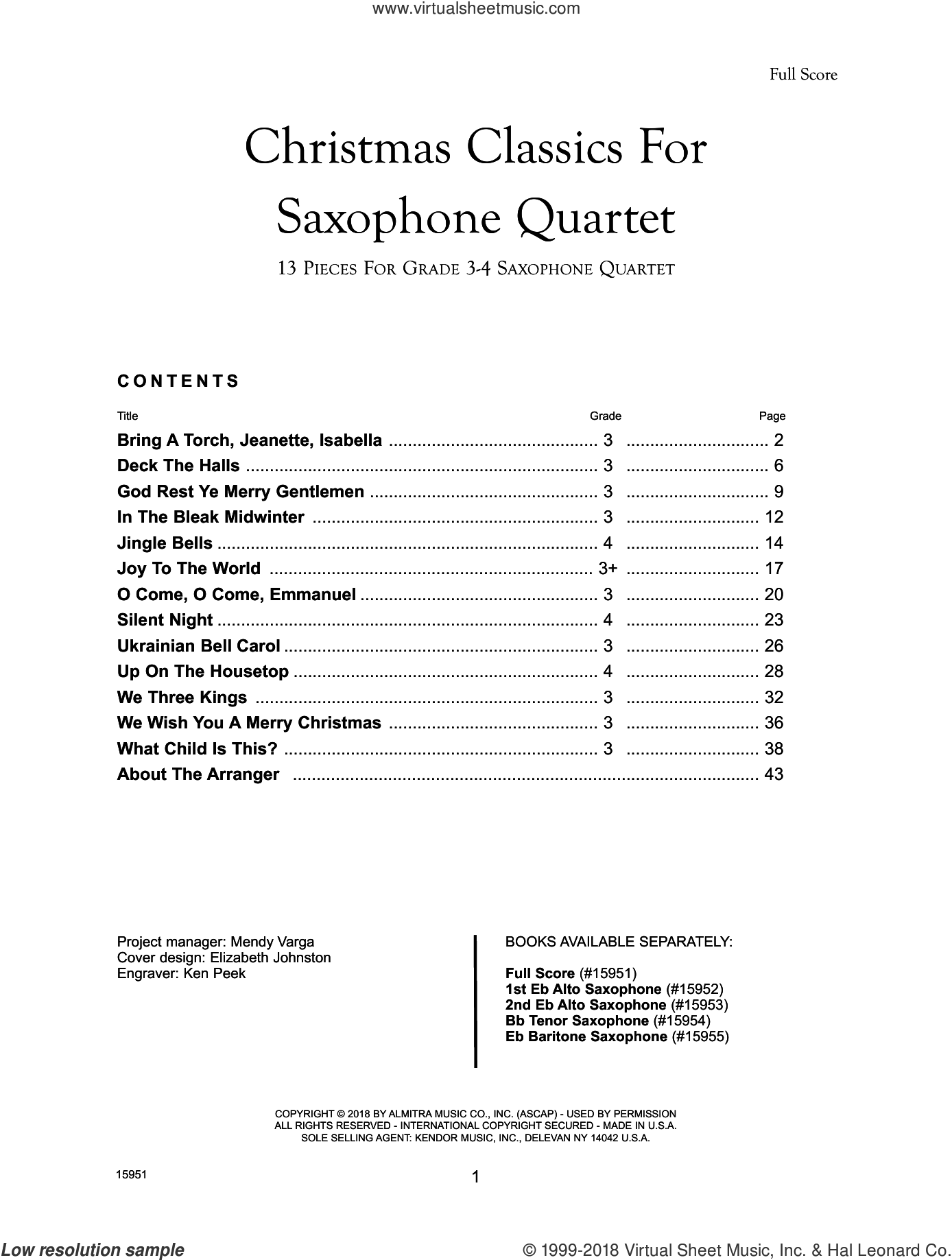 Christmas Classics For Saxophone Quartet - Full Score sheet music for saxophone quartet by Frank J. Halferty, intermediate skill level