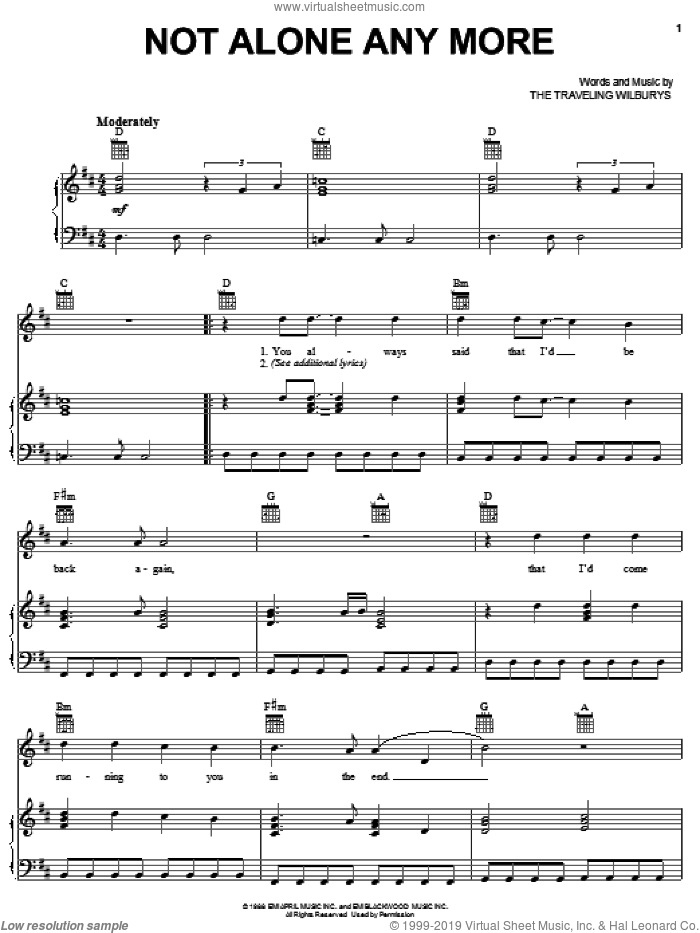 Not Alone Any More sheet music for voice, piano or guitar by The Traveling Wilburys, Bob Dylan, George Harrison, Jeff Lynne, Roy Orbison and Tom Petty, intermediate skill level