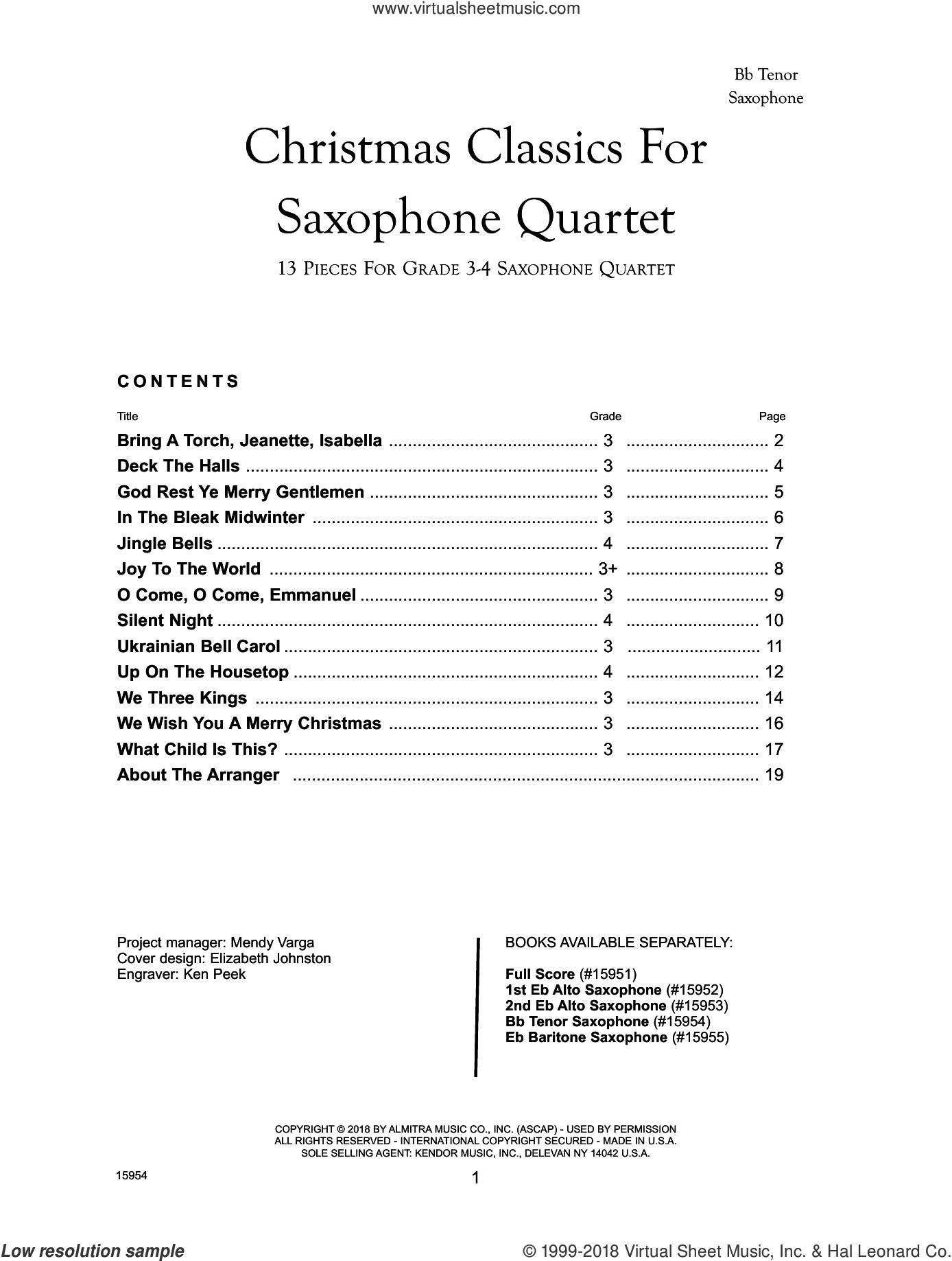 Christmas Classics For Saxophone Quartet - Bb Tenor Saxophone sheet music for saxophone quartet by Frank J. Halferty, intermediate skill level