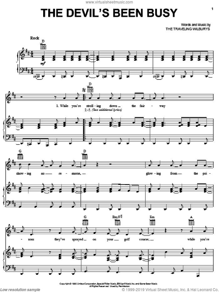 The Devil's Been Busy sheet music for voice, piano or guitar by The Traveling Wilburys, Bob Dylan, George Harrison, Jeff Lynne and Tom Petty, intermediate. Score Image Preview.