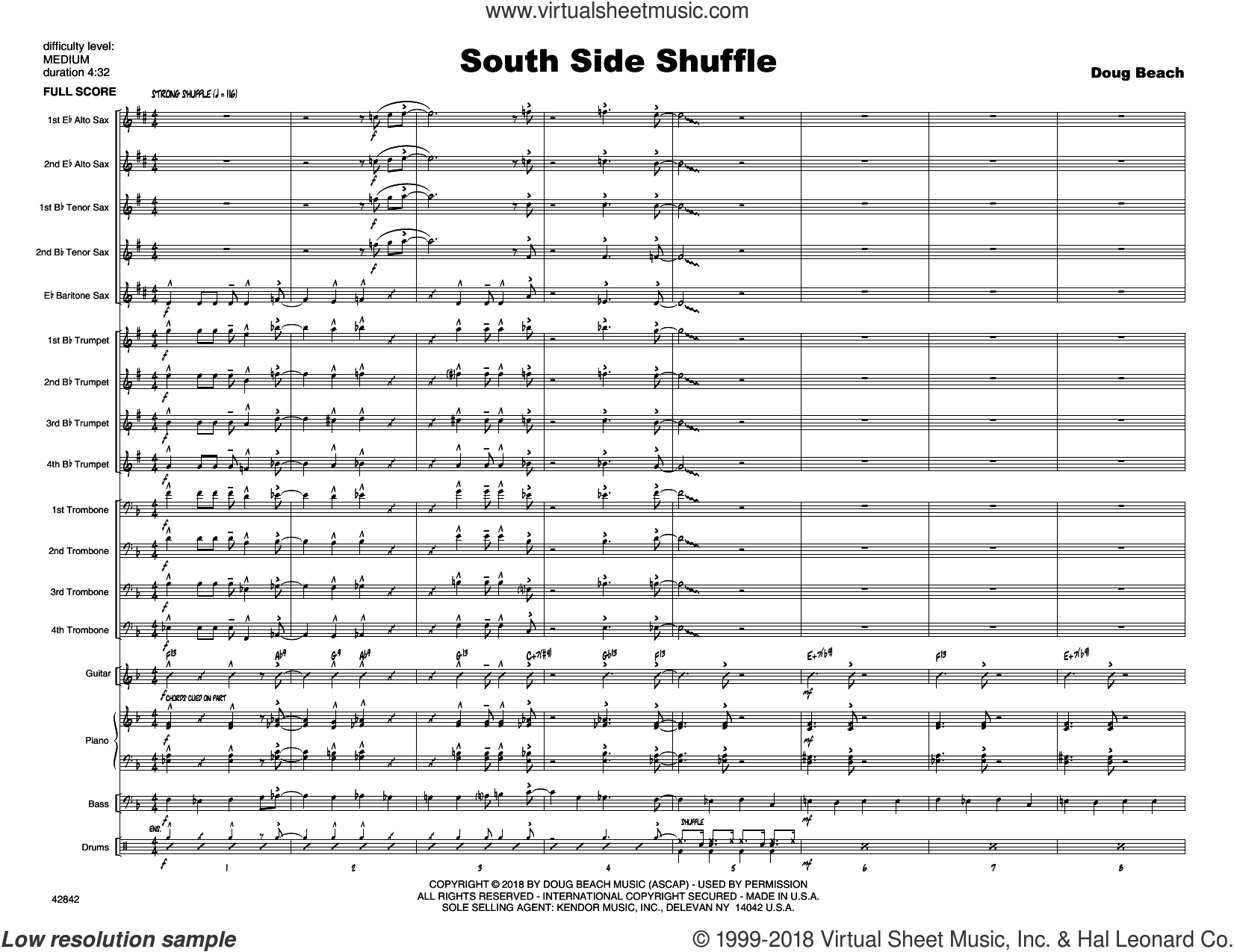South Side Shuffle (COMPLETE) sheet music for jazz band by Doug Beach and George Shutack, intermediate skill level