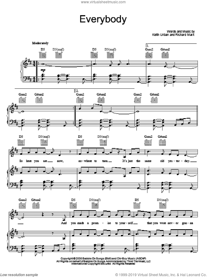 Everybody sheet music for voice, piano or guitar by Keith Urban and Richard Marx, intermediate skill level