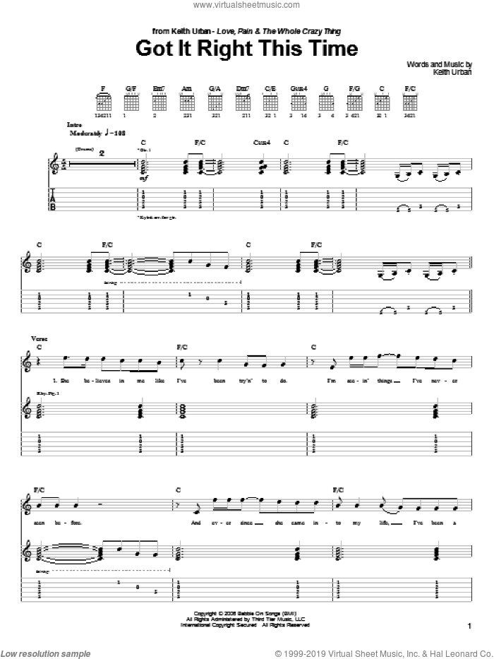 Got It Right This Time sheet music for guitar (tablature) by Keith Urban. Score Image Preview.