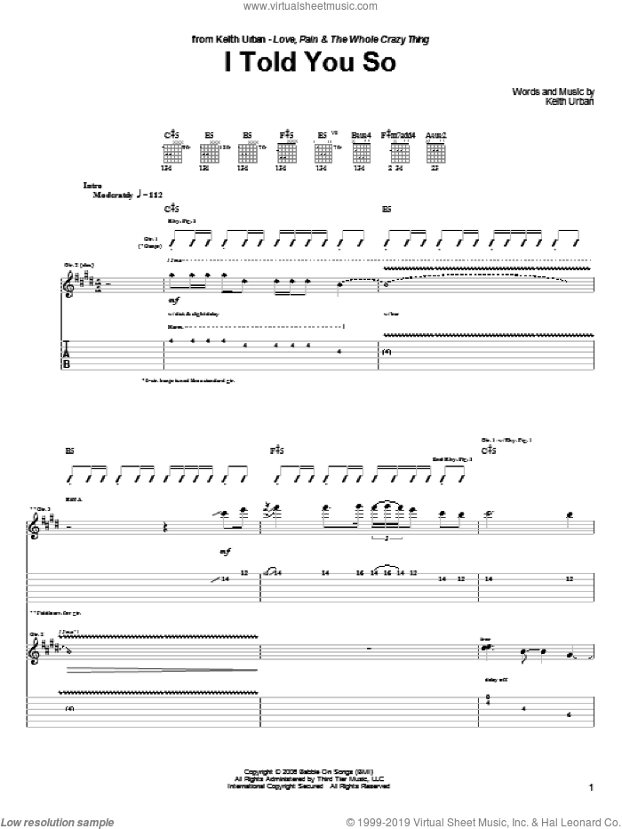I Told You So sheet music for guitar (tablature) by Keith Urban. Score Image Preview.