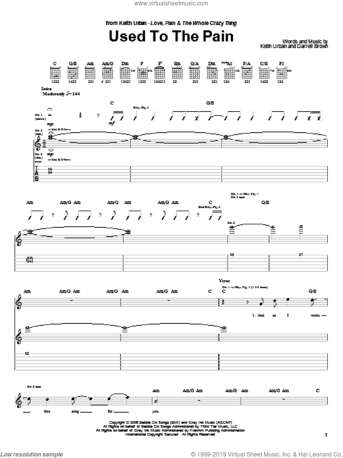 Used To The Pain sheet music for guitar (tablature) by Keith Urban and Darrell Brown. Score Image Preview.