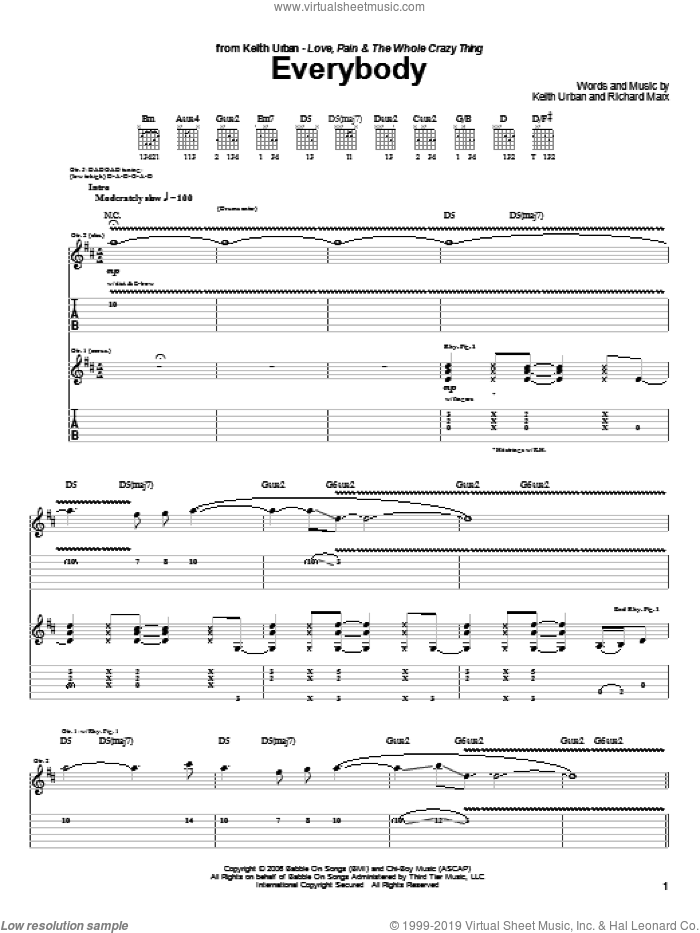 Everybody sheet music for guitar (tablature) by Keith Urban and Richard Marx, intermediate skill level