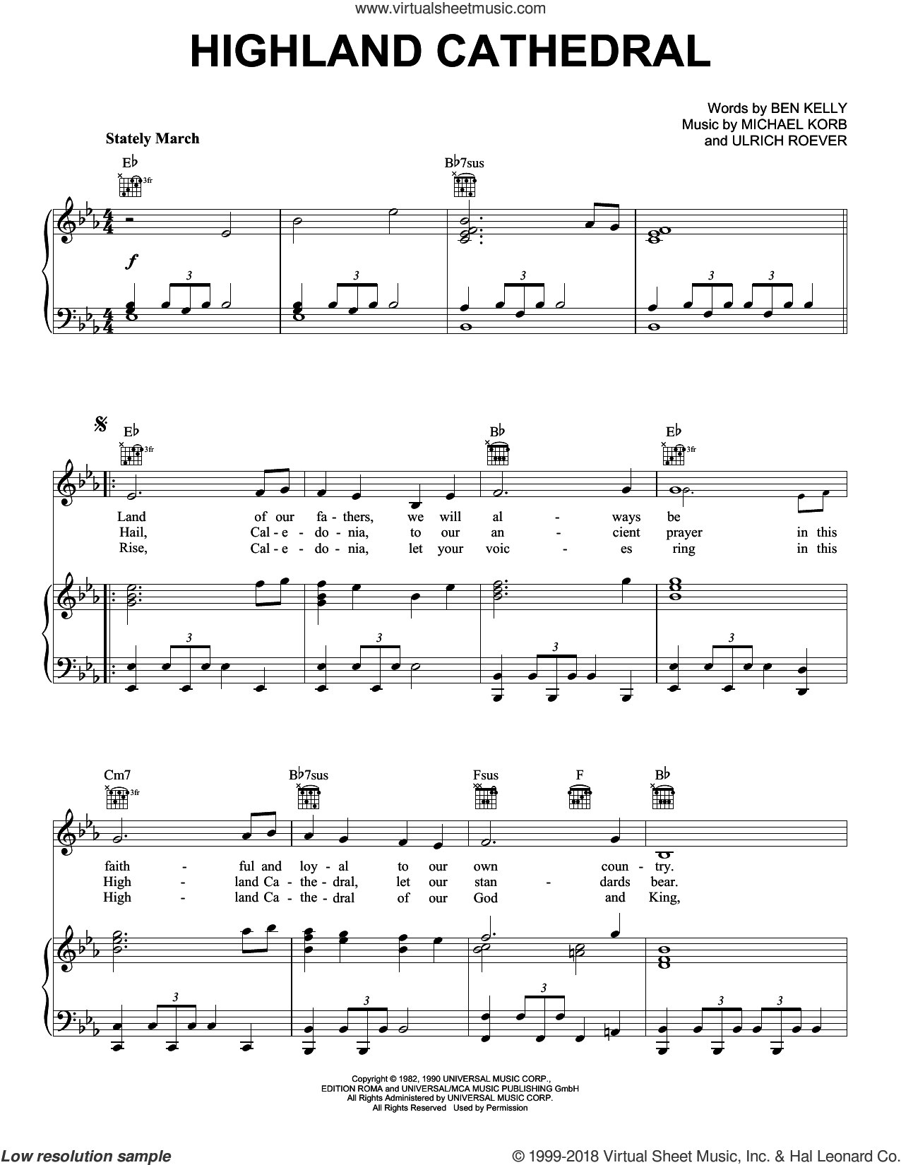 Highland Cathedral sheet music for voice, piano or guitar by Michael Korb, Ben Kelly and Ulrich Roever, intermediate skill level