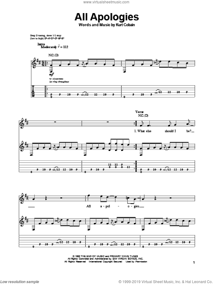 All Apologies sheet music for guitar (tablature, play-along) by Nirvana. Score Image Preview.