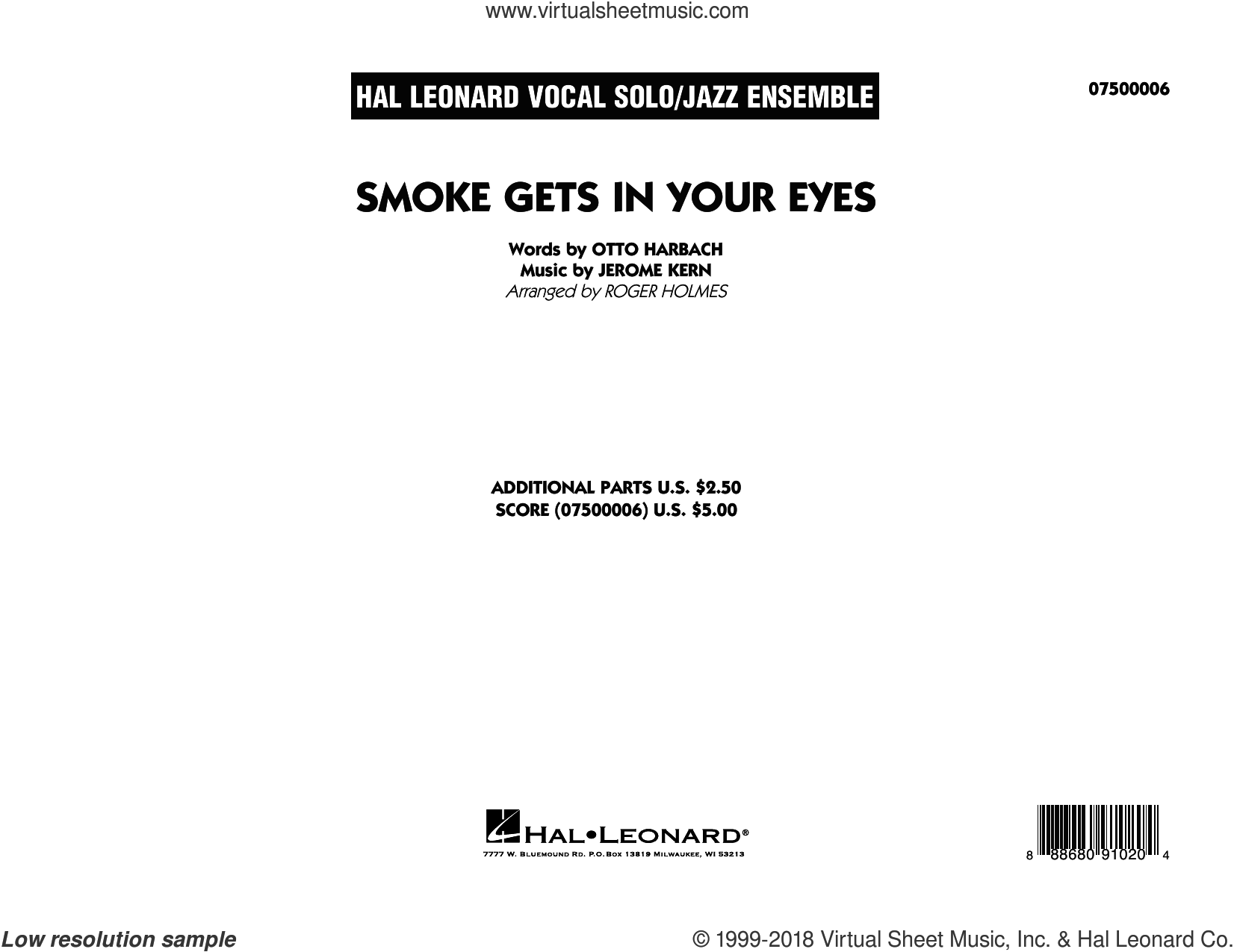 Smoke Gets In Your Eyes (arr. Roger Holmes) (COMPLETE) sheet music for jazz band by Jerome Kern, Otto Harbach and The Platters, intermediate skill level