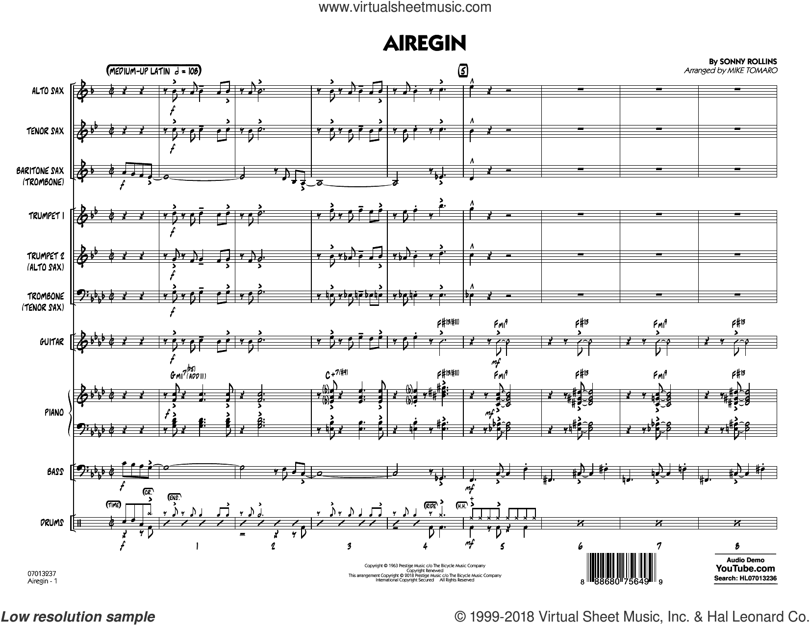 Airegin (arr. Mike Tomaro) (COMPLETE) sheet music for jazz band by John Coltrane, Mike Tomaro and Sonny Rollins, intermediate skill level