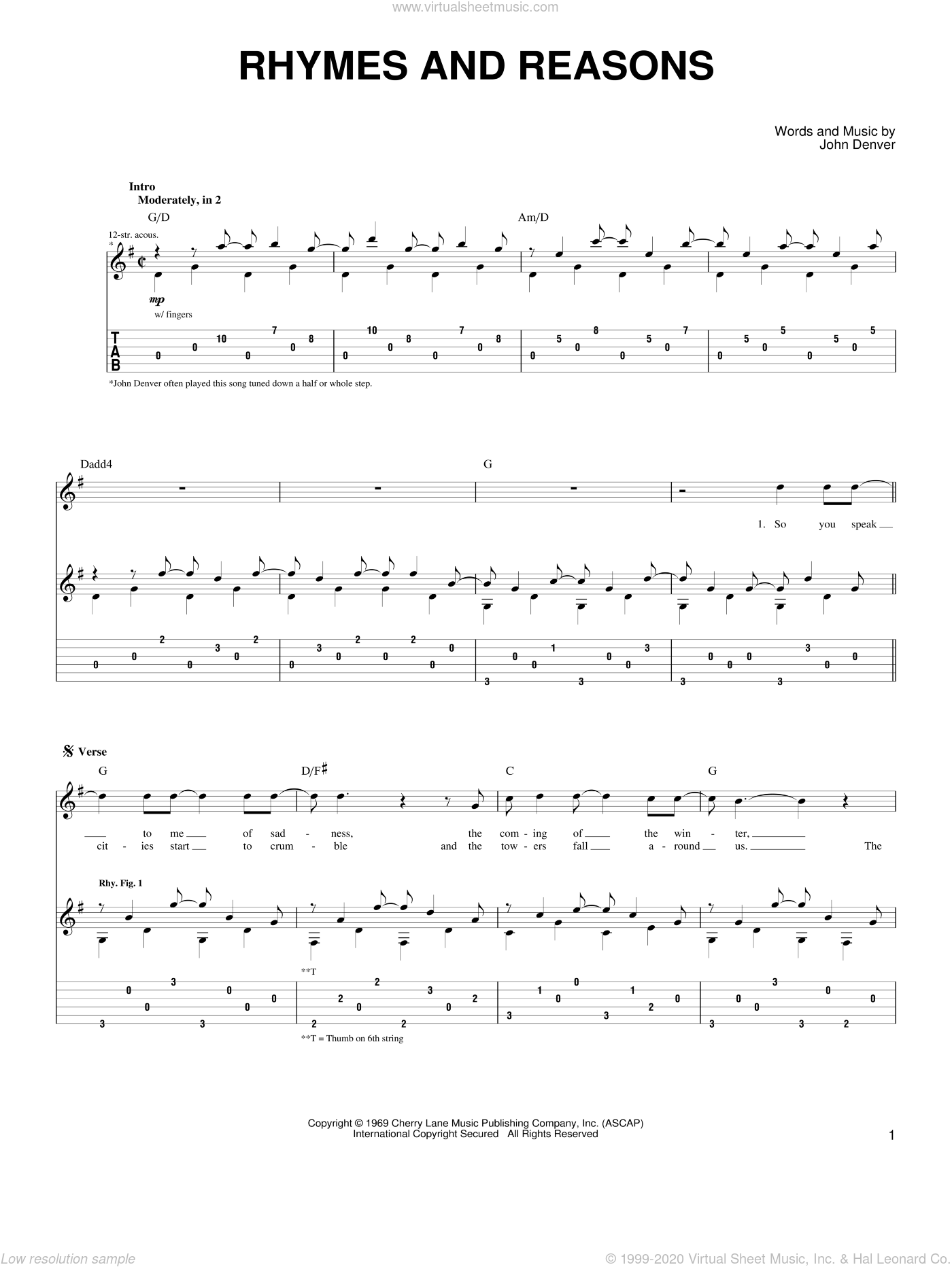Rhymes And Reasons sheet music for guitar (tablature) by John Denver, intermediate skill level