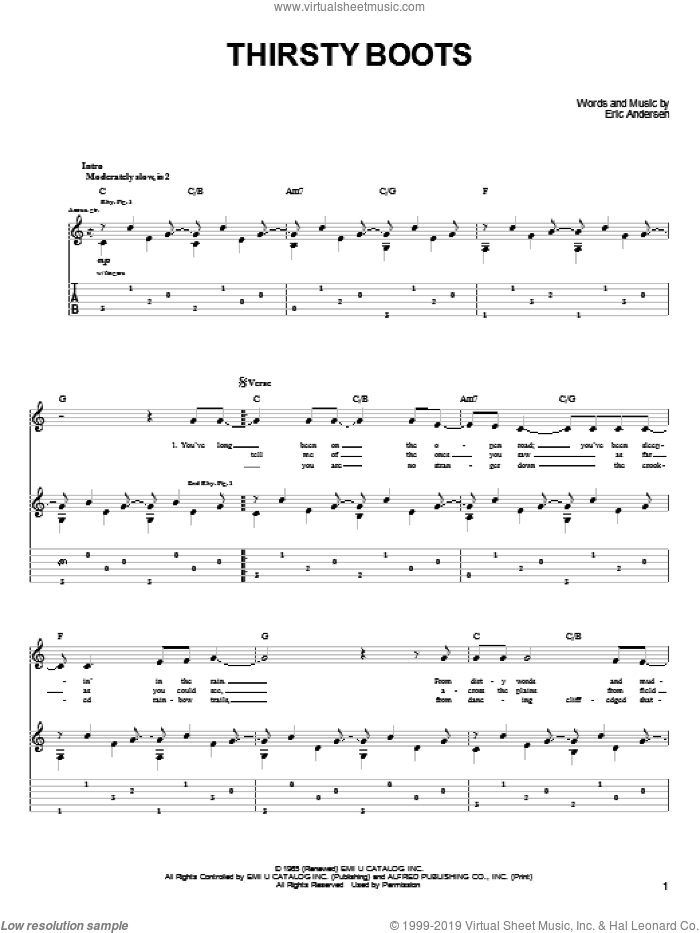 Thirsty Boots sheet music for guitar (tablature) by John Denver, intermediate guitar (tablature). Score Image Preview.