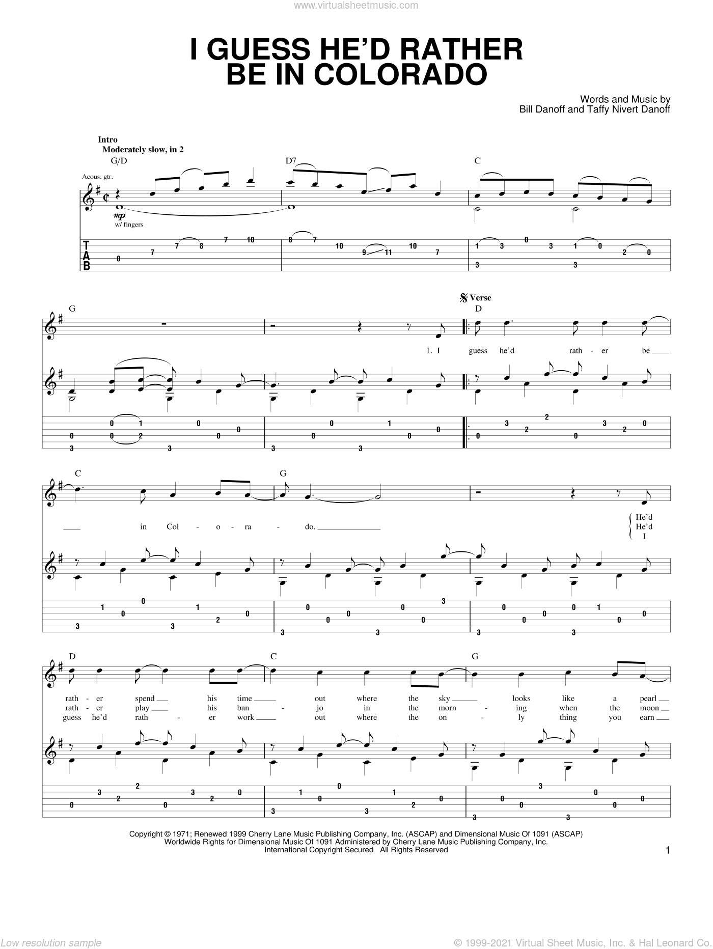 I Guess He'd Rather Be In Colorado sheet music for guitar (tablature) by Taffy Nivert Danoff