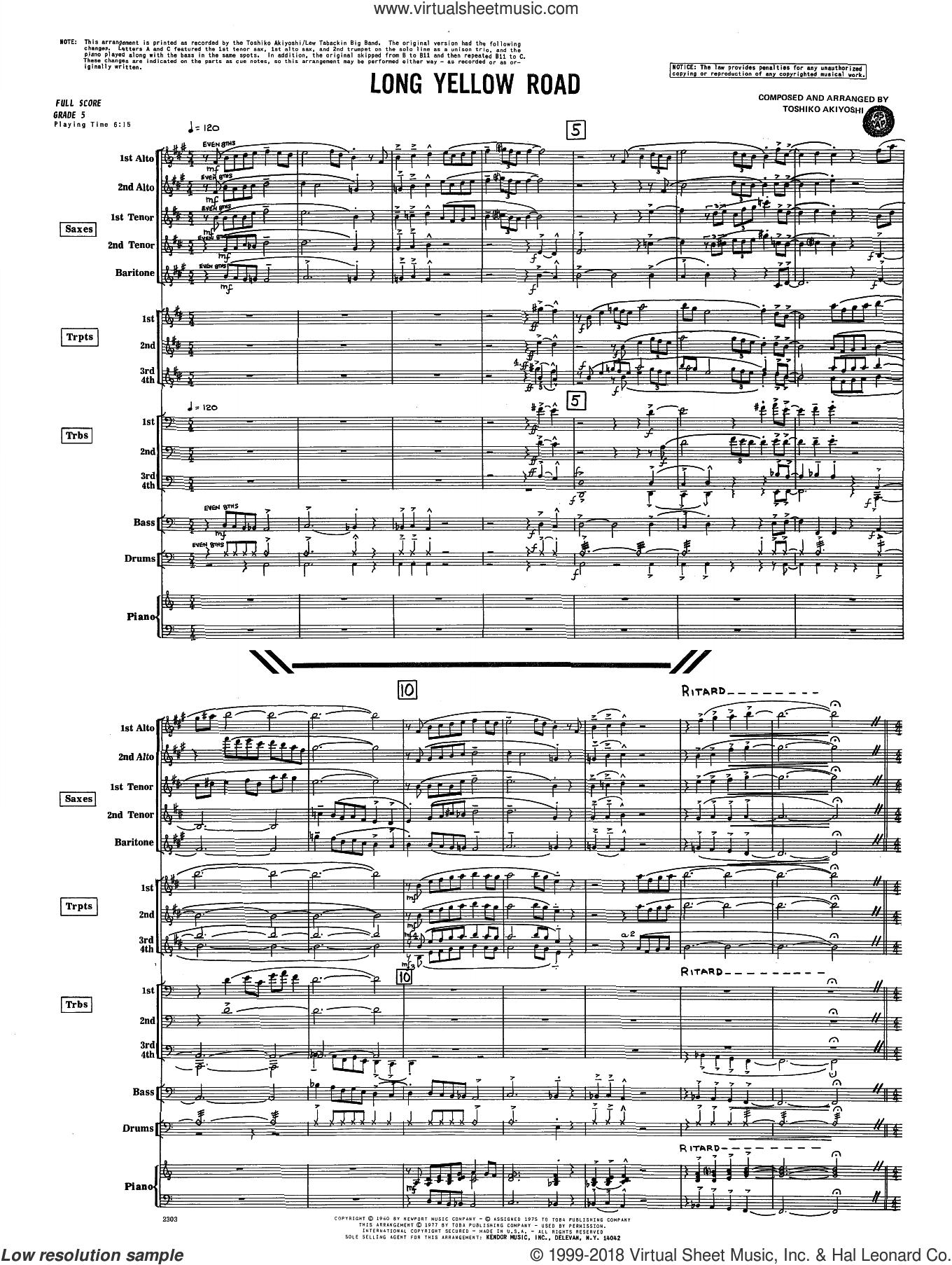 Long Yellow Road (COMPLETE) sheet music for jazz band by Toshiko Akiyoshi, intermediate skill level