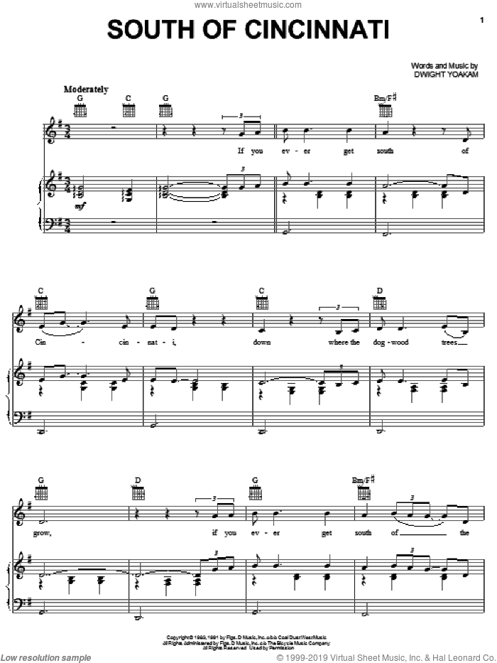 South Of Cincinnati sheet music for voice, piano or guitar by Dwight Yoakam. Score Image Preview.