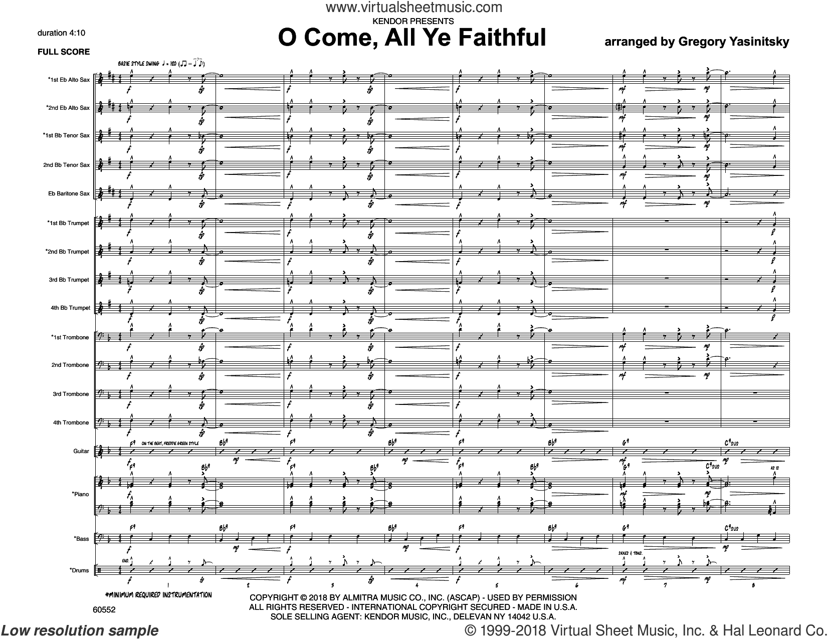 O Come, All Ye Faithful (COMPLETE) sheet music for jazz band by Gregory Yasinitsky and Miscellaneous, intermediate skill level