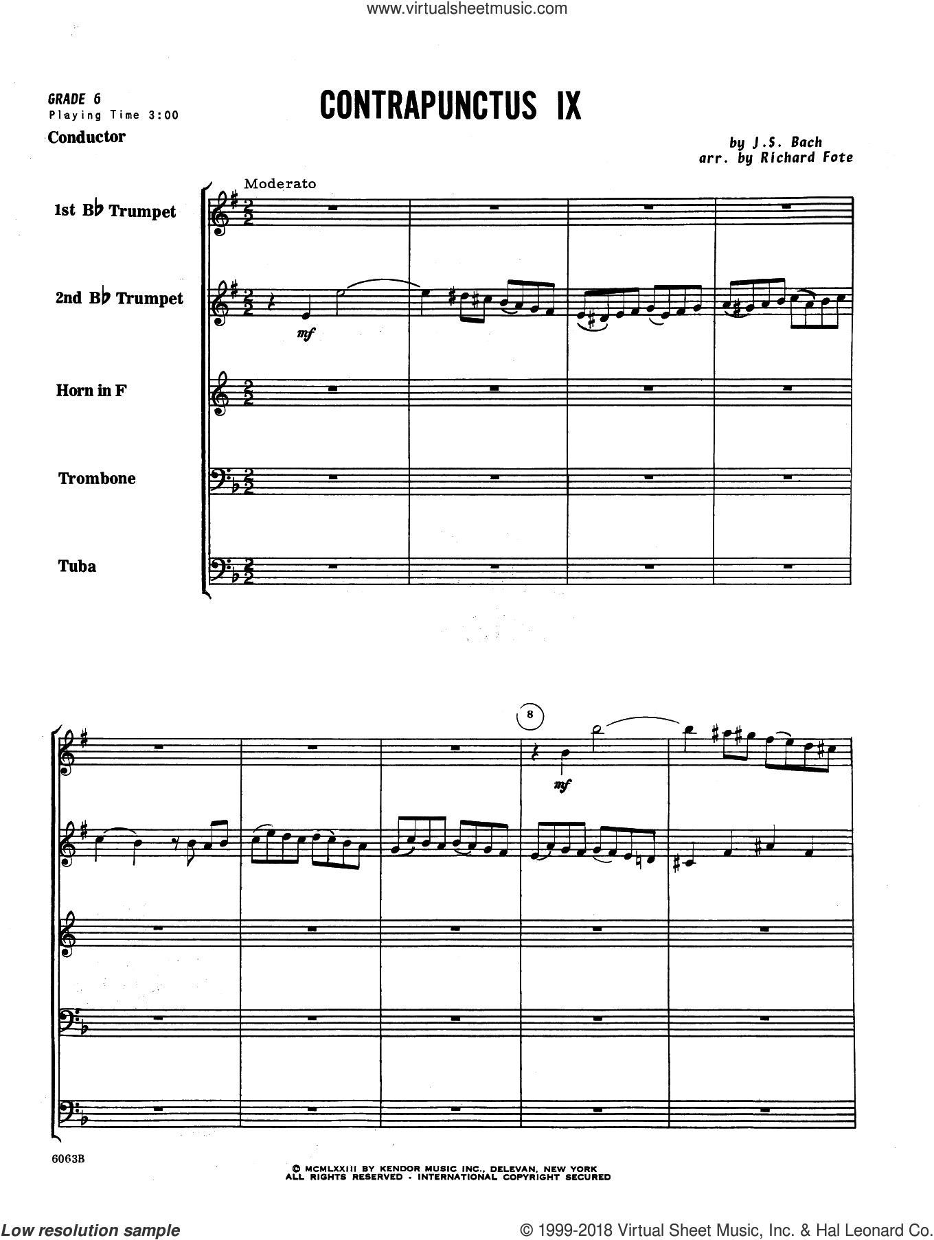 Contrapunctus IX (arr. Richard Fote) (COMPLETE) sheet music for brass quintet by Johann Sebastian Bach and Richard Fote, classical score, intermediate skill level