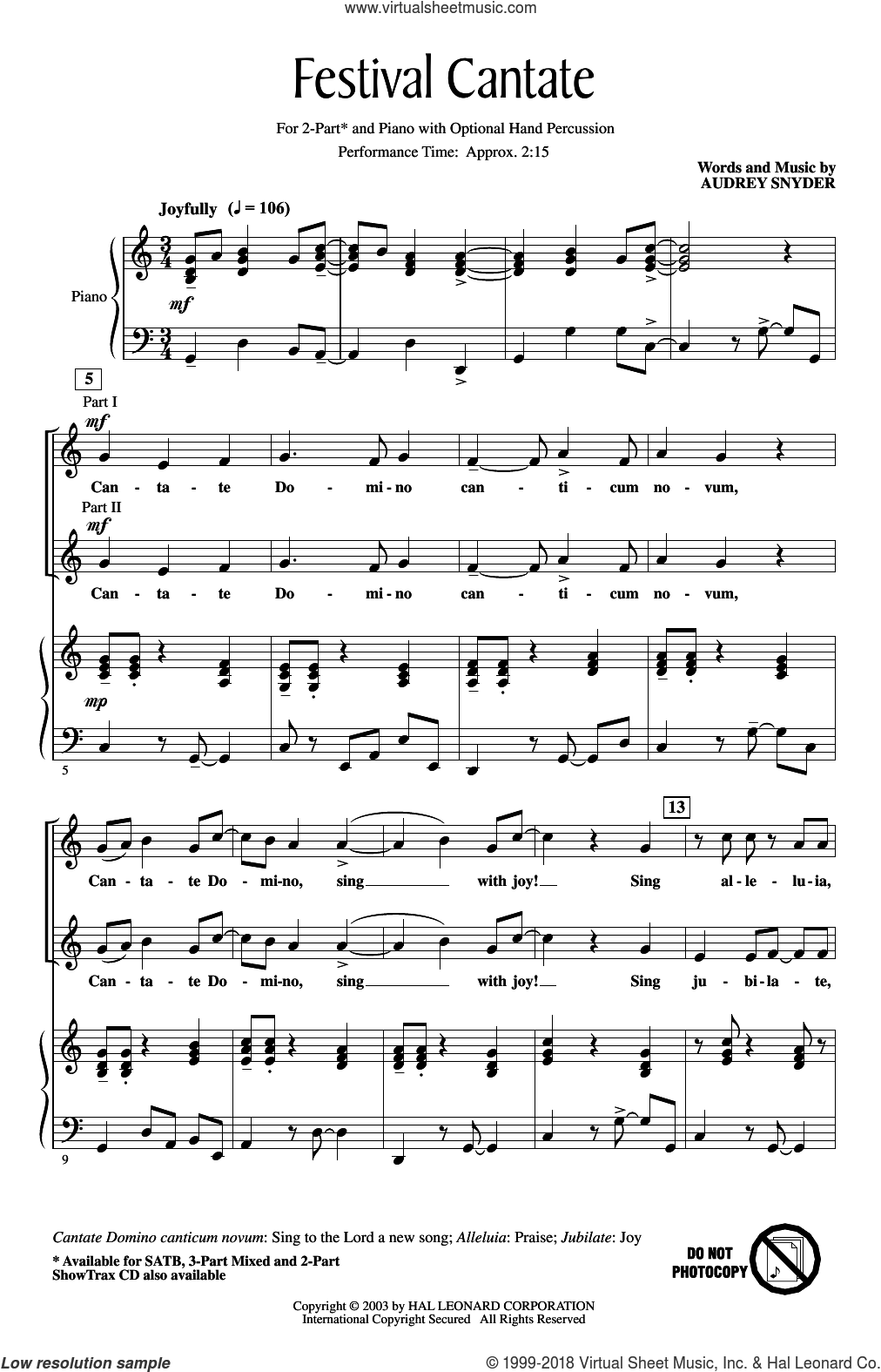 Festival Cantate sheet music for choir (2-Part) by Audrey Snyder, intermediate duet
