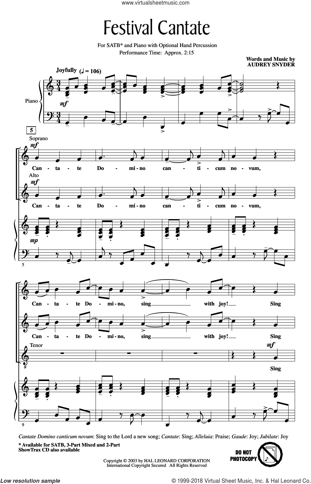 Festival Cantate sheet music for choir (SATB: soprano, alto, tenor, bass) by Audrey Snyder, intermediate skill level