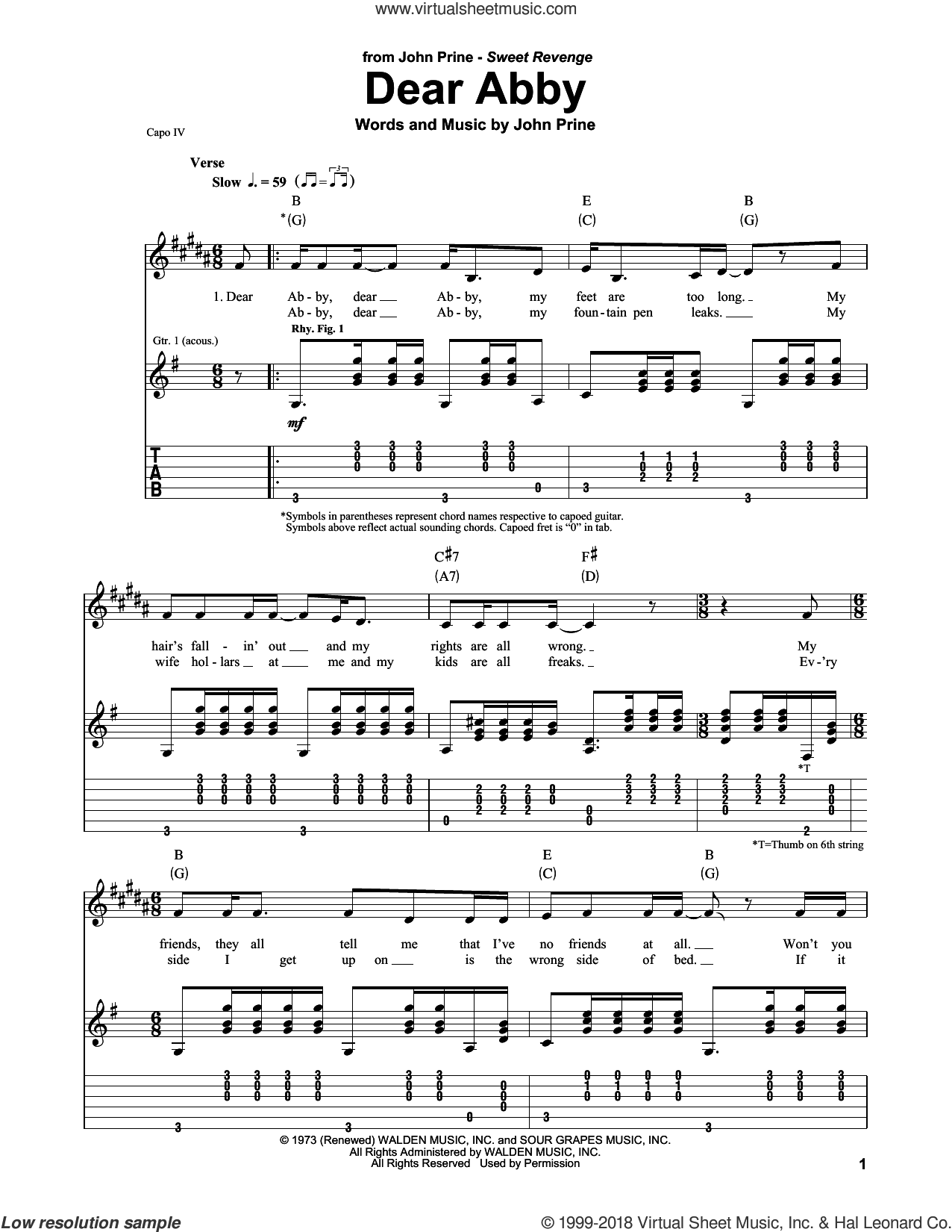 Dear Abby sheet music for guitar (tablature, play-along) by John Prine, intermediate skill level