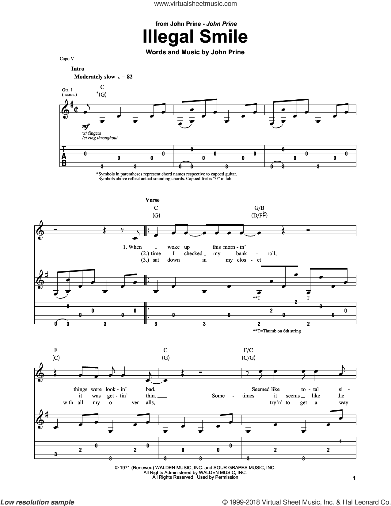 Illegal Smile sheet music for guitar (tablature, play-along) by John Prine, intermediate skill level
