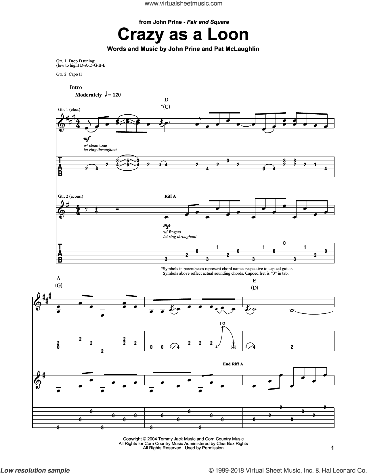 Crazy As A Loon sheet music for guitar (tablature, play-along) by John Prine and Pat McLaughlin, intermediate skill level