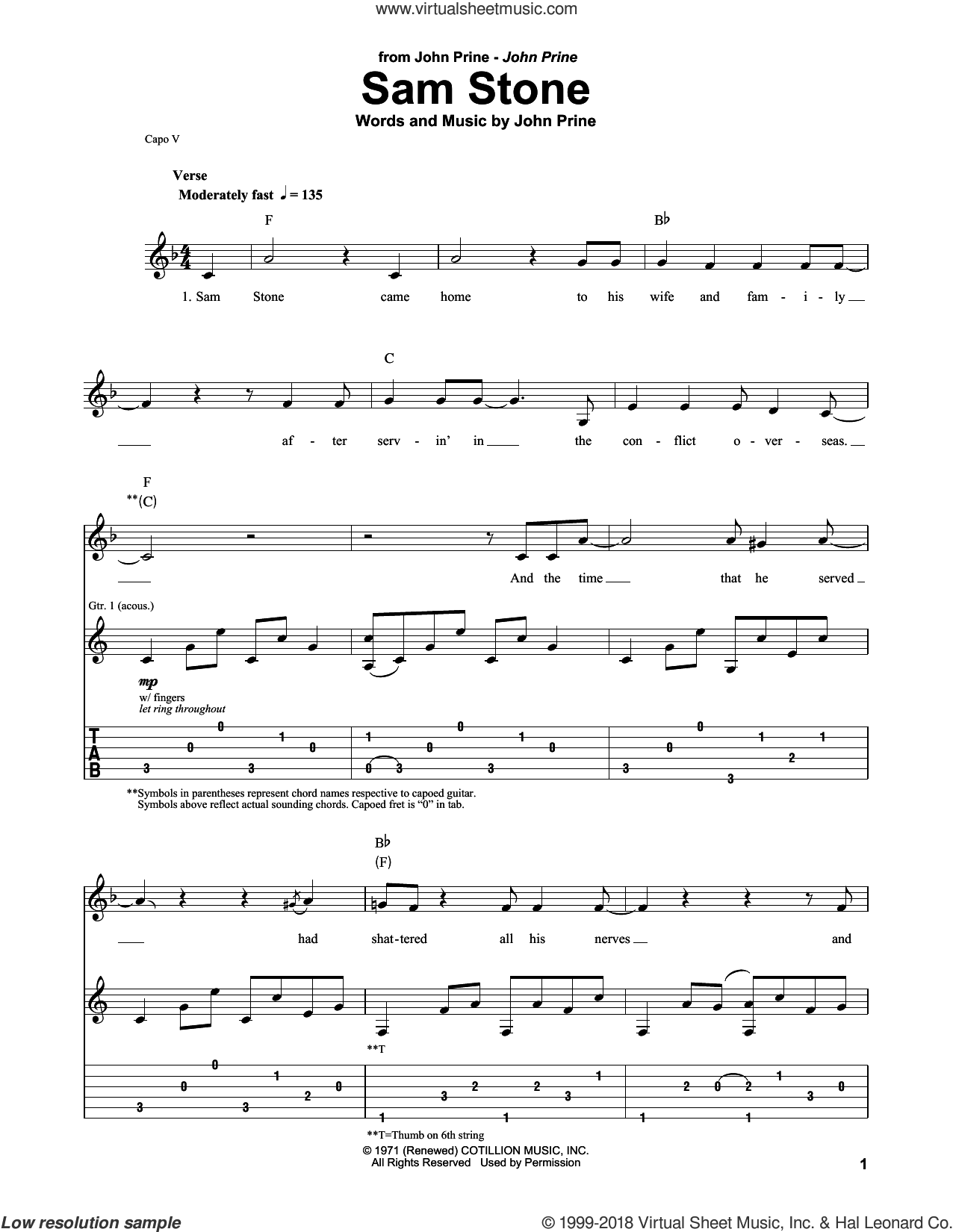 Sam Stone sheet music for guitar (tablature, play-along) by John Prine, intermediate skill level