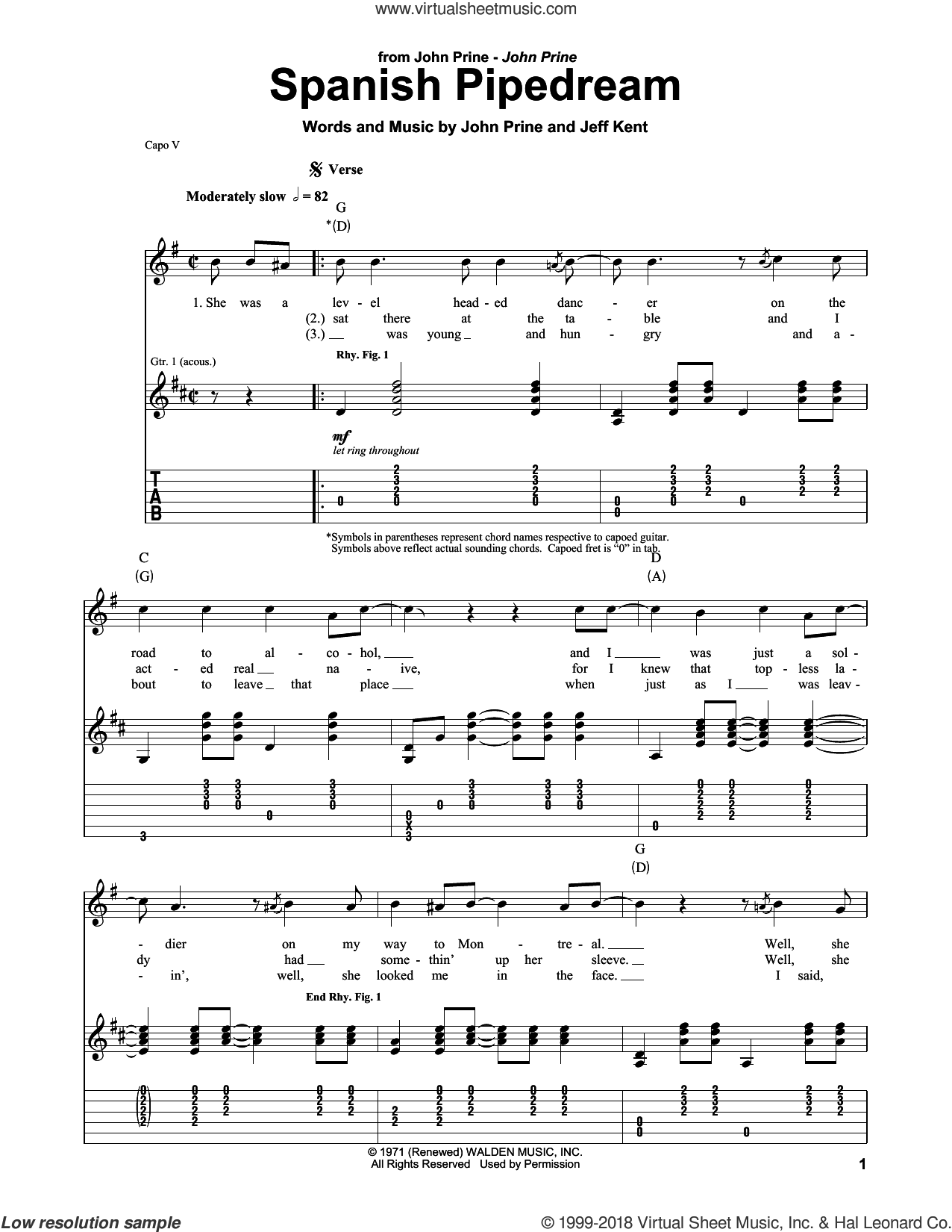 Spanish Pipedream sheet music for guitar (tablature, play-along) by John Prine and Jeff Kent, intermediate skill level