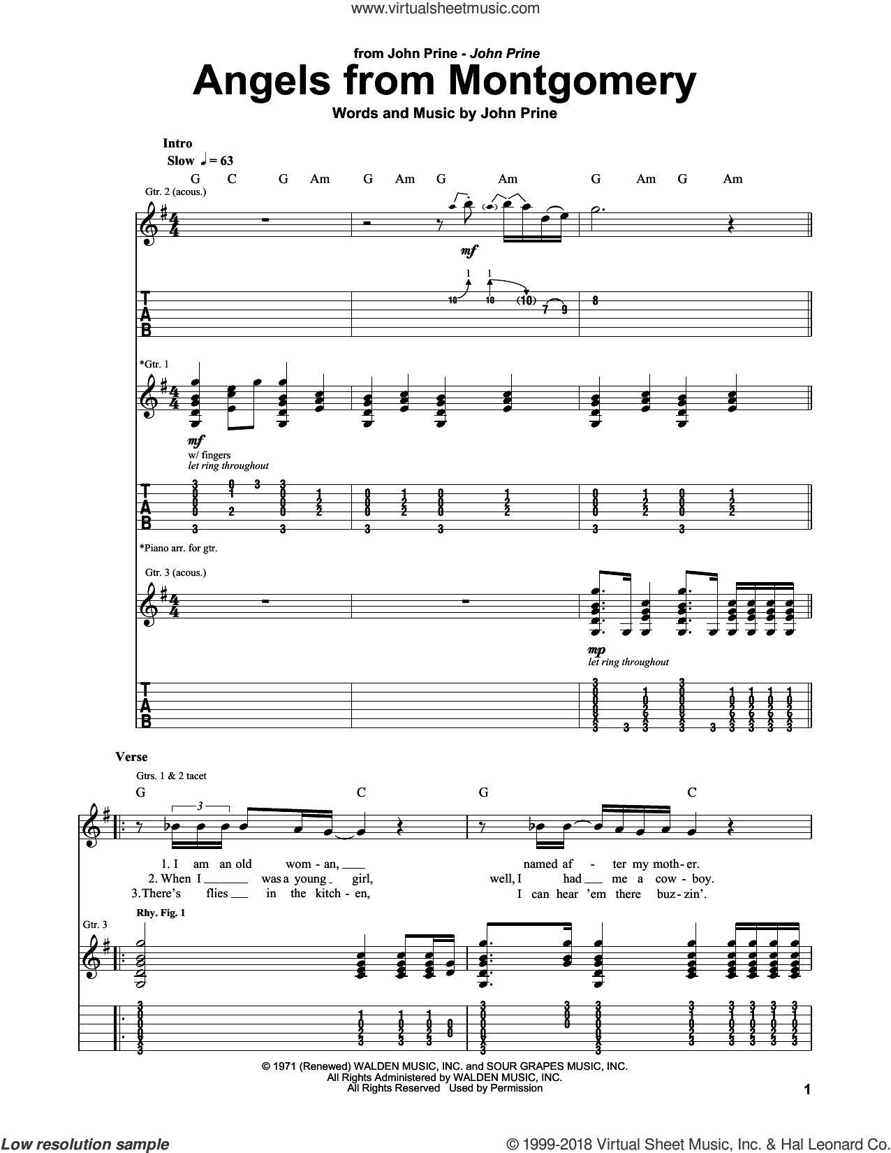 Angels From Montgomery sheet music for guitar (tablature, play-along) by John Prine, intermediate skill level