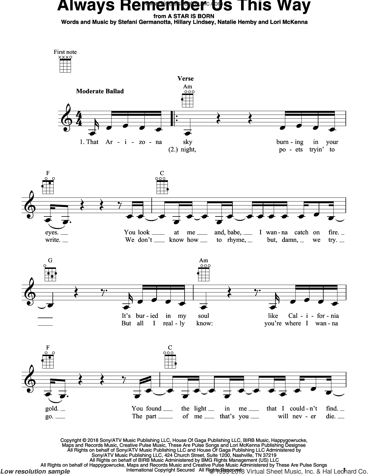 Always Remember Us This Way (from A Star Is Born) sheet music for ukulele by Lady Gaga, Bradley Cooper, Lukas Nelson, Hillary Lindsey, Lori McKenna and Natalie Hemby, intermediate skill level