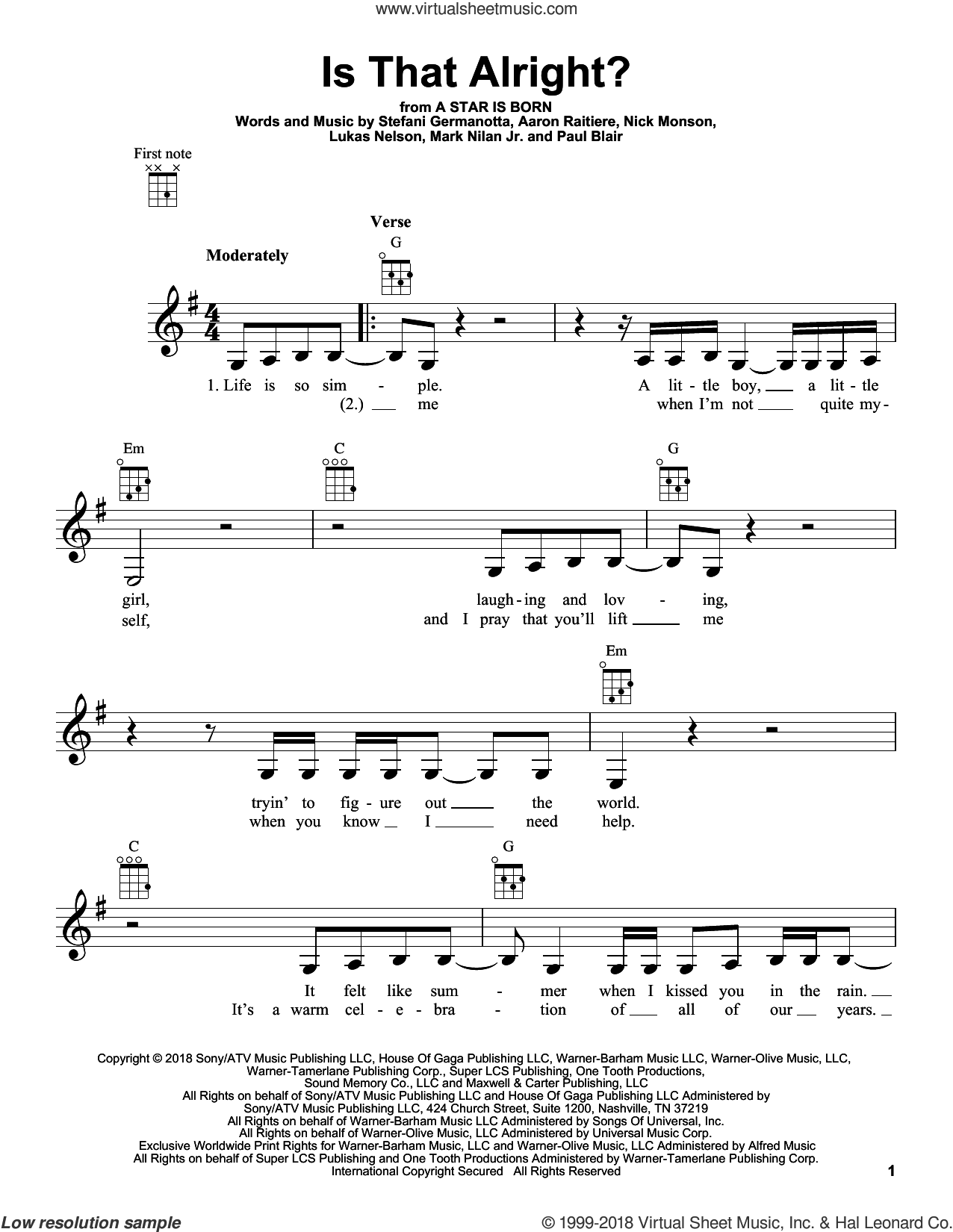 Is That Alright? (from A Star Is Born) sheet music for ukulele by Lady Gaga, Bradley Cooper, Lukas Nelson, Aaron Raitiere, Mark Nilan Jr., Nick Monson and Paul Blair, intermediate skill level