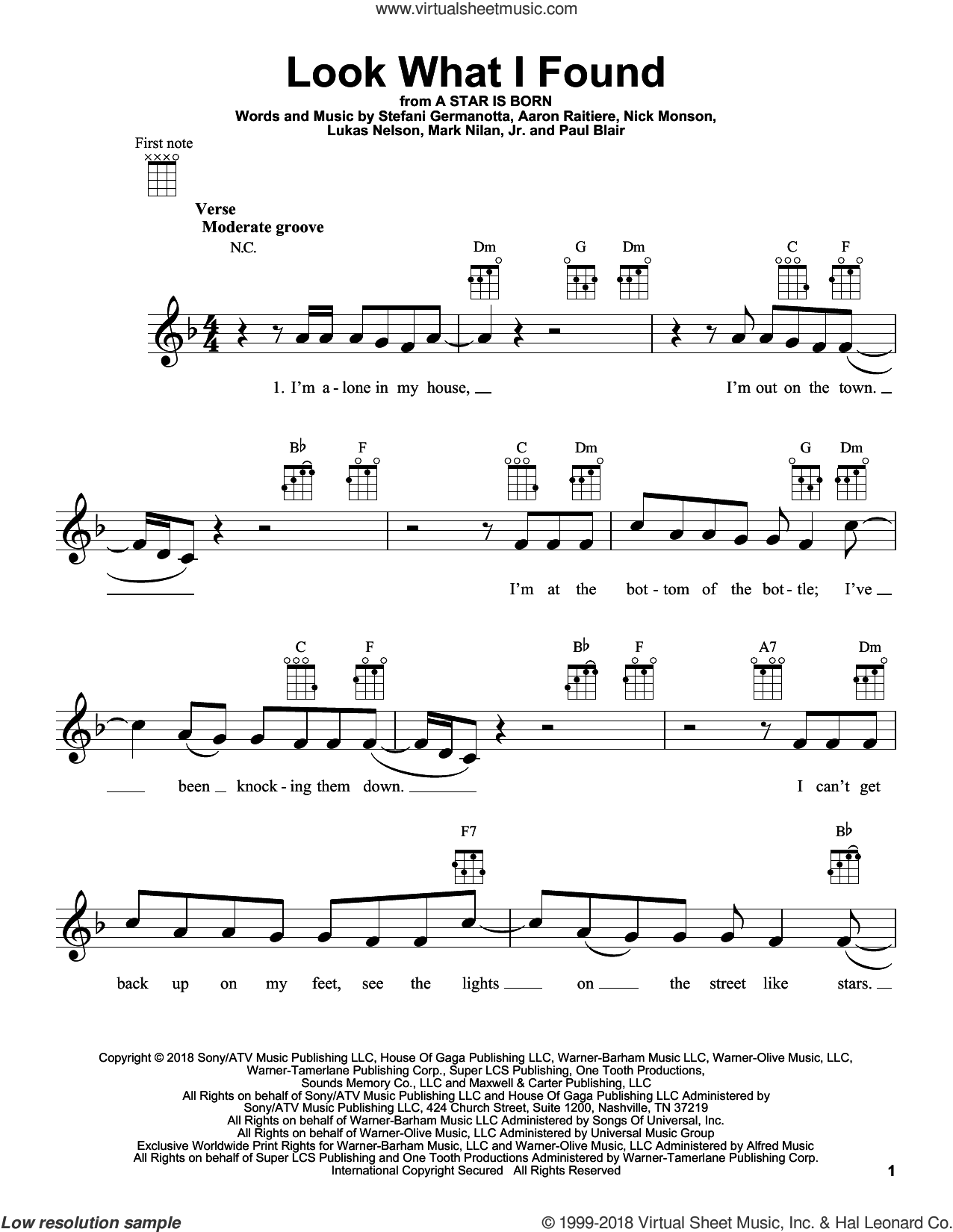 Look What I Found (from A Star Is Born) sheet music for ukulele by Lady Gaga, Bradley Cooper, Lukas Nelson, Aaron Raitiere, Mark Nilan Jr., Nick Monson and Paul Blair, intermediate skill level