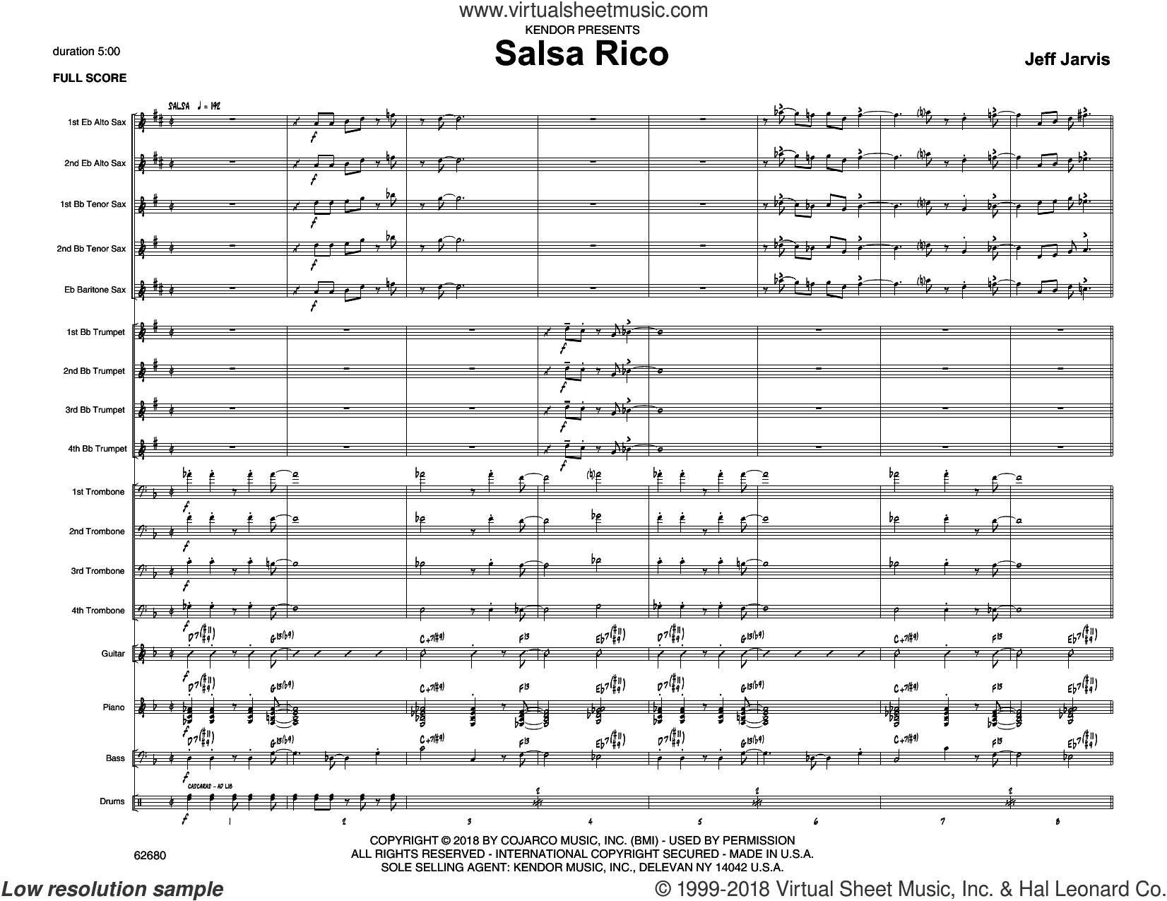 Salsa Rico (COMPLETE) sheet music for jazz band by Jeff Jarvis, intermediate skill level