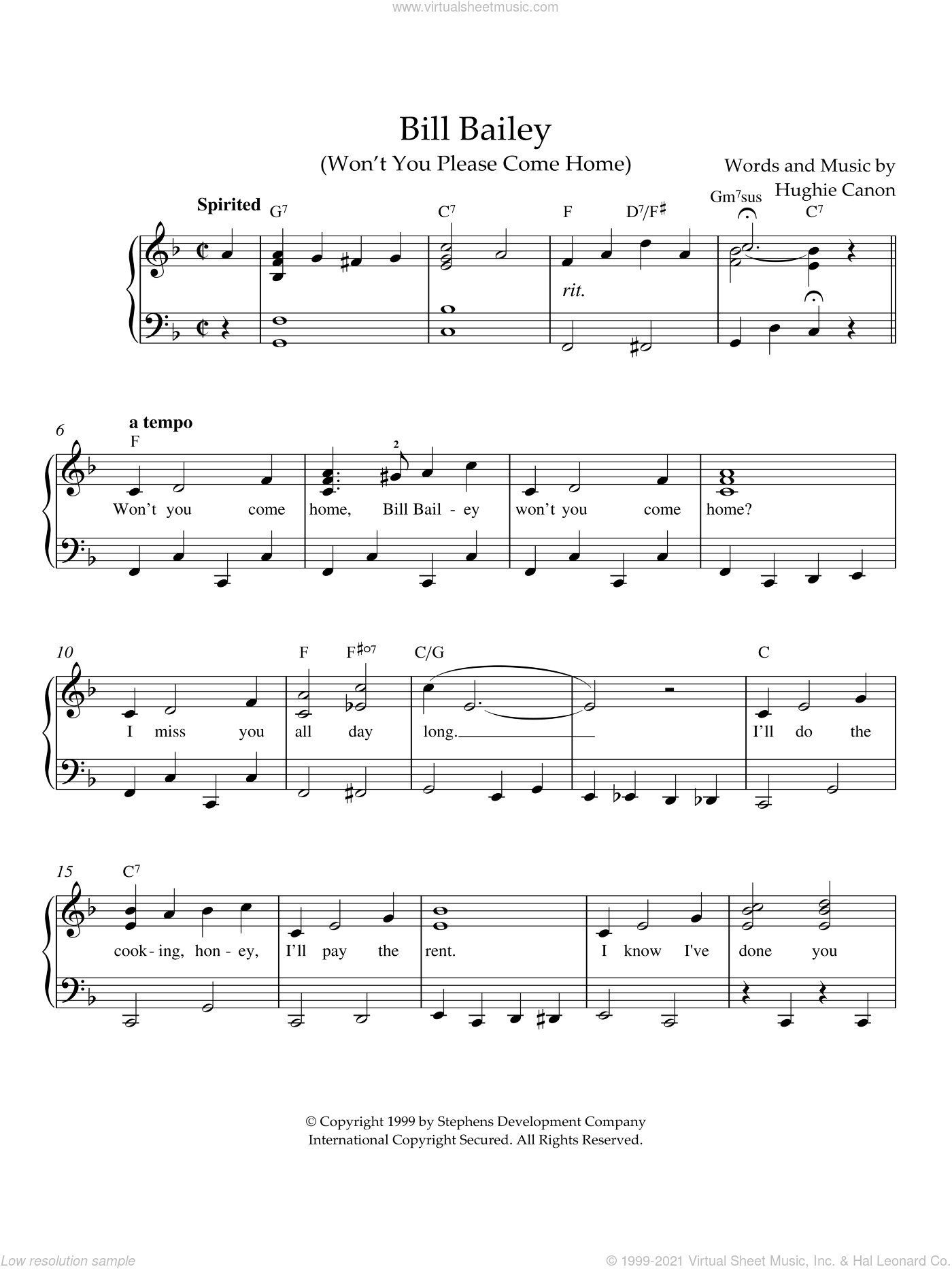 Bill Bailey (Won't You Please Come Home) sheet music for piano solo by Johann Pachelbel, intermediate skill level