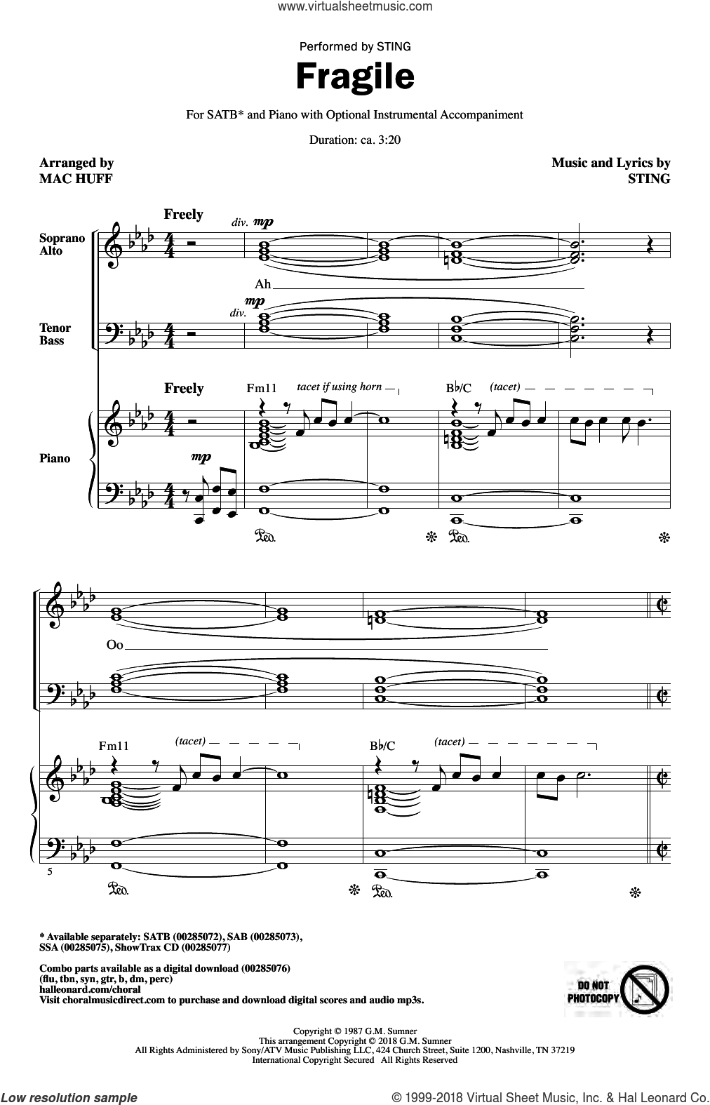 Fragile (arr. Mac Huff) sheet music for choir (SATB: soprano, alto, tenor, bass) by Sting and Mac Huff, intermediate skill level