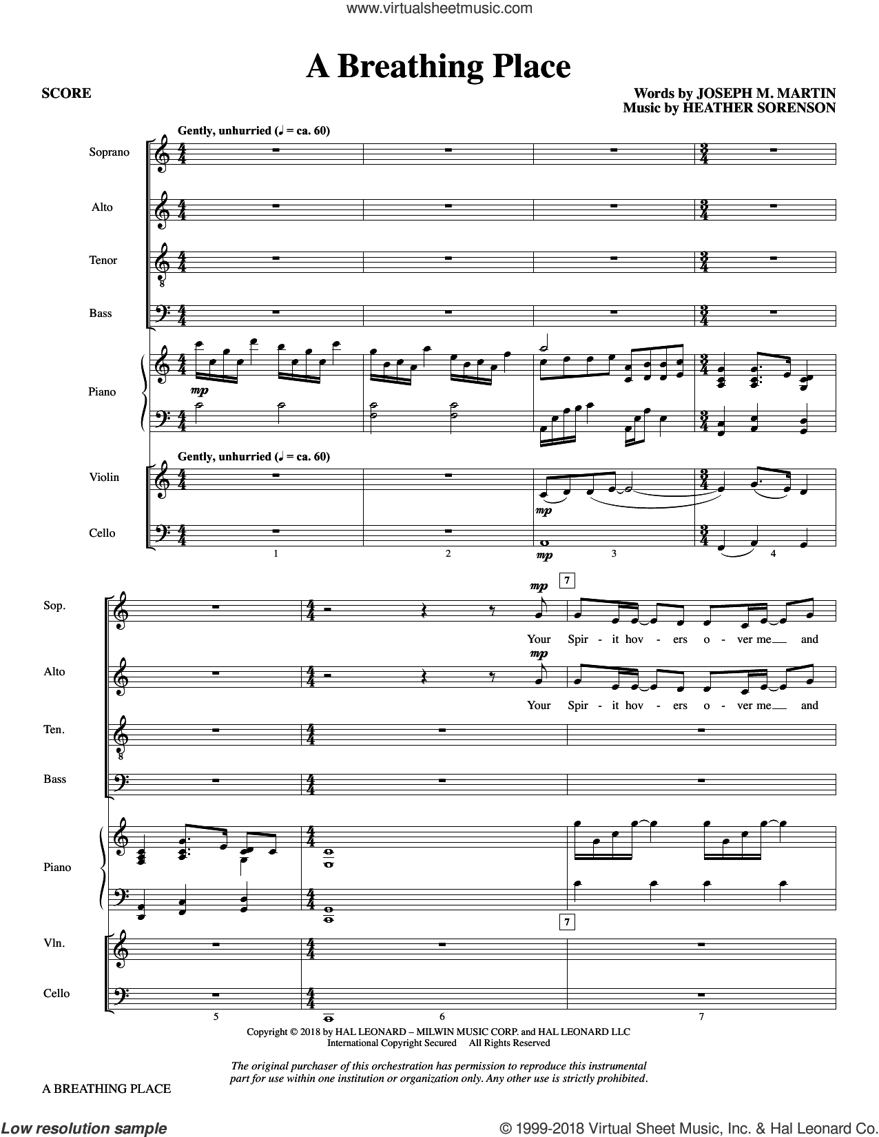 A Breathing Place (COMPLETE) sheet music for orchestra/band by Joseph M. Martin & Heather Sorenson, Heather Sorenson and Joseph M. Martin, intermediate skill level