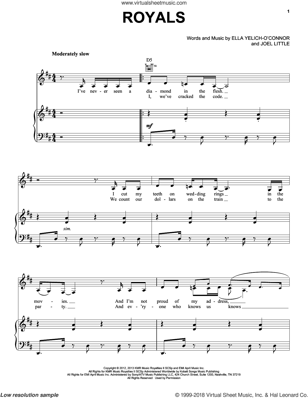 Royals sheet music for voice, piano or guitar by Lorde, Miscellaneous and Joel Little, intermediate skill level