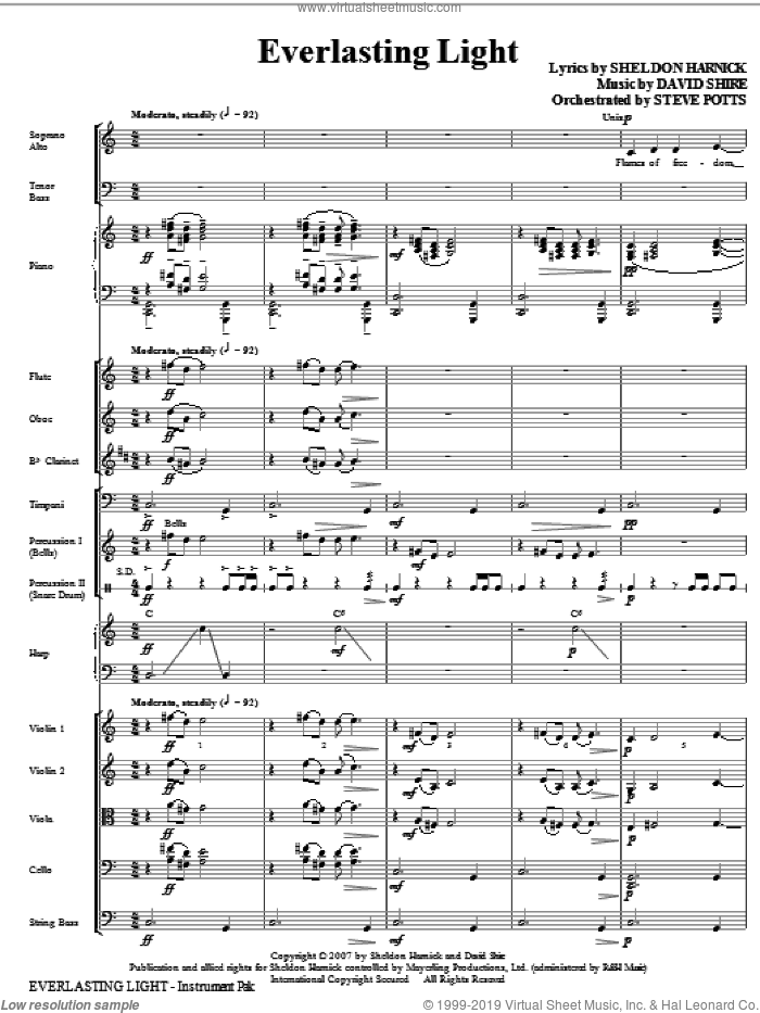 Everlasting Light (COMPLETE) sheet music for orchestra/band (Orchestra) by David Shire and Sheldon Harnick, intermediate. Score Image Preview.