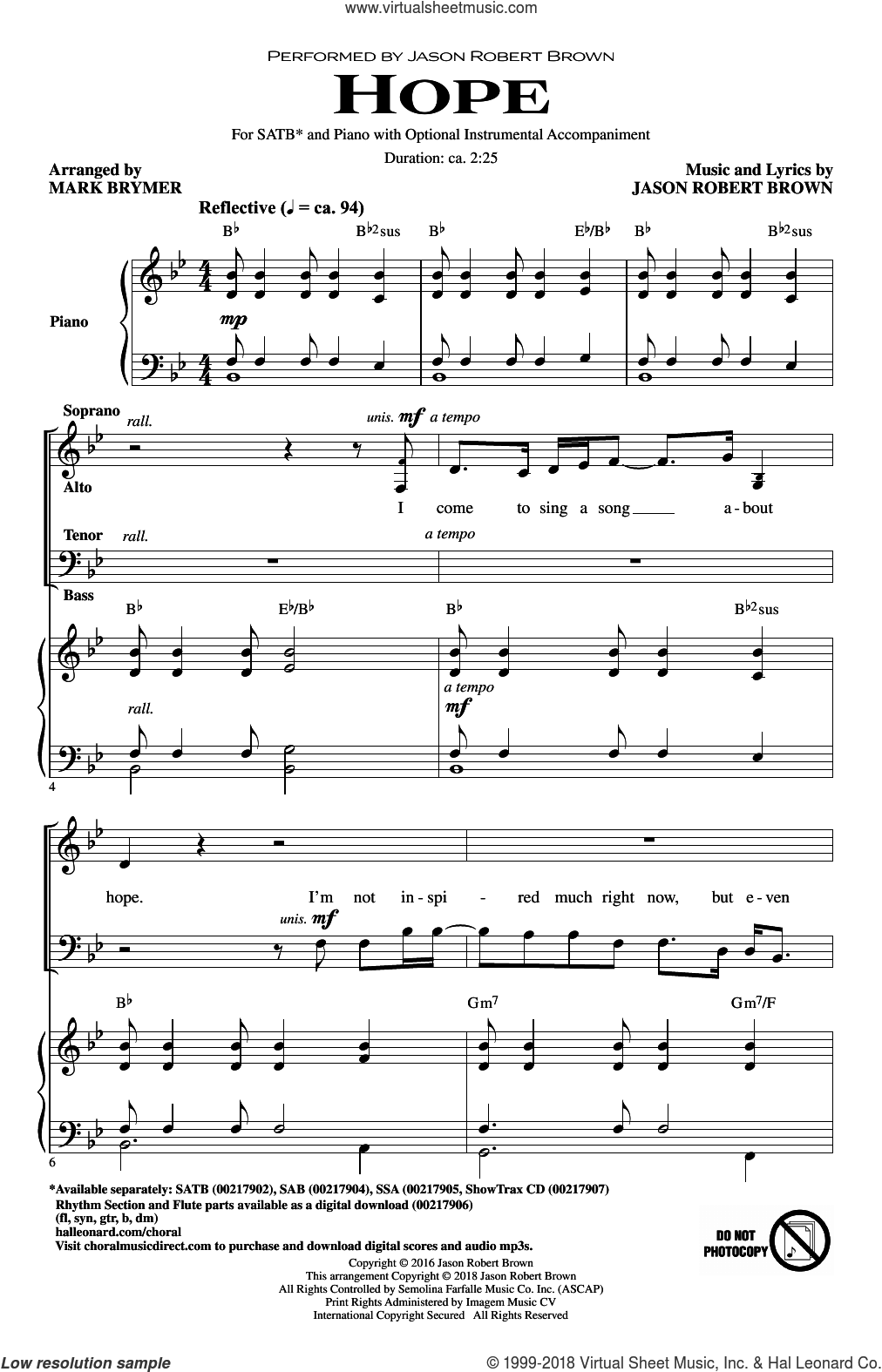 Hope (from How We React and How We Recover) (arr. Mark Brymer) sheet music for choir (SATB: soprano, alto, tenor, bass) by Jason Robert Brown, Mark Brymer and Kristin Chenoweth, intermediate skill level