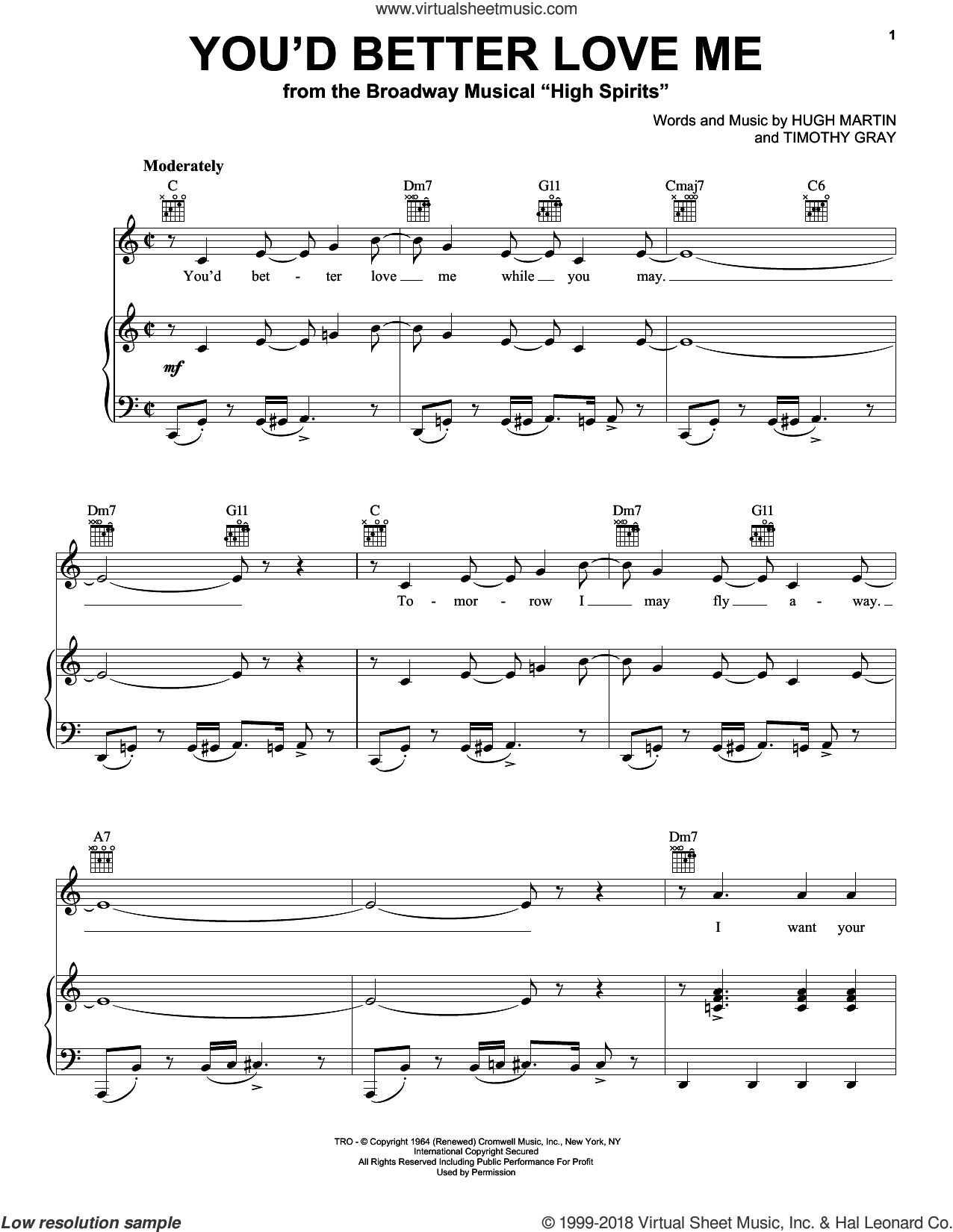 You'd Better Love Me sheet music for voice, piano or guitar by Hugh Martin and Timothy Gray, intermediate skill level