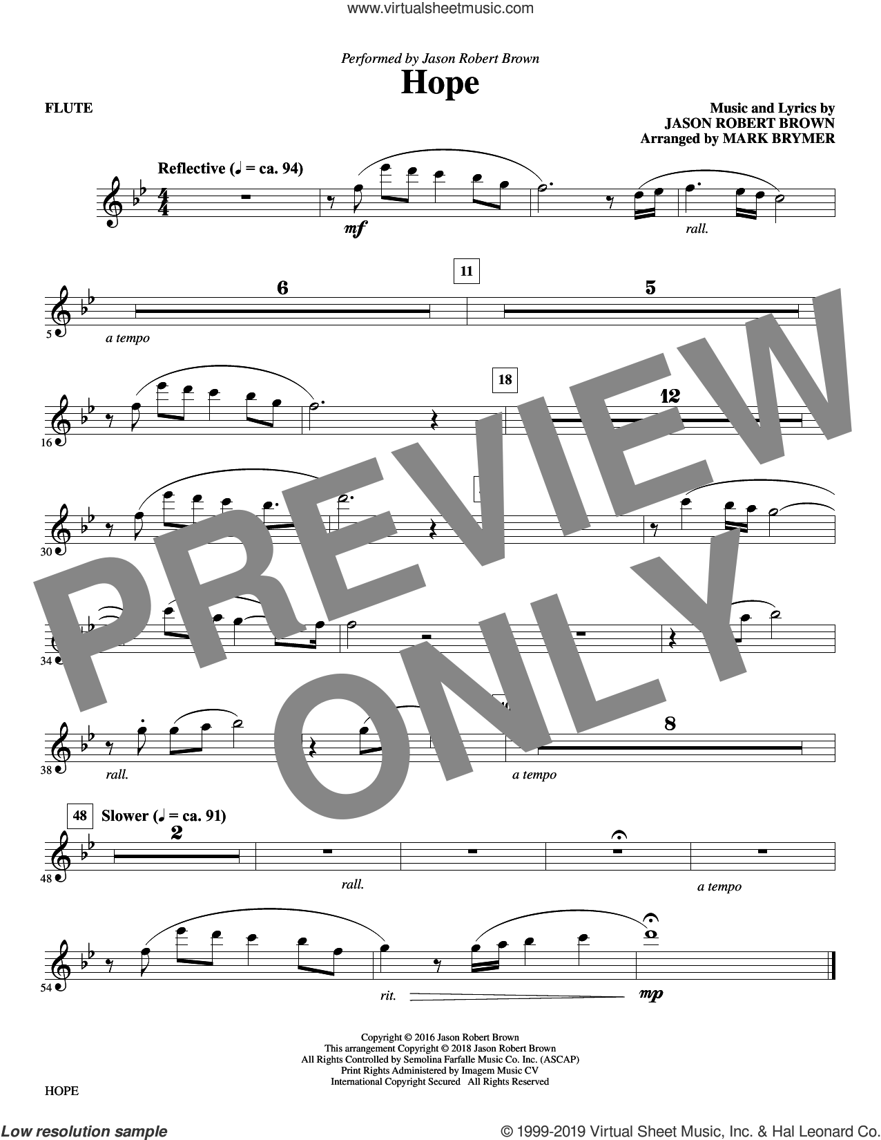 Hope (arr. Mark Brymer) (complete set of parts) sheet music for orchestra/band by Mark Brymer, Jason Robert Brown and Kristin Chenoweth, intermediate skill level