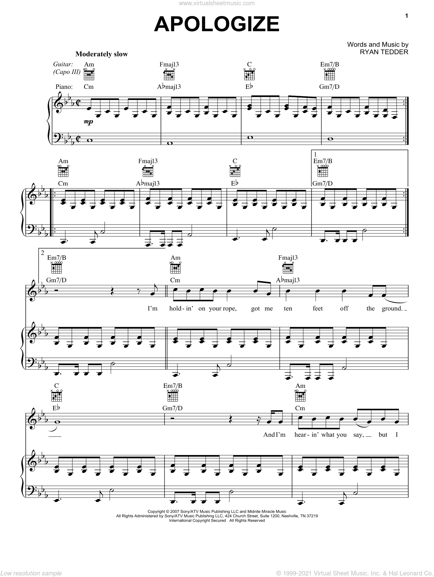Apologize (feat. OneRepublic) sheet music for voice, piano or guitar by Timbaland and Ryan Tedder, intermediate skill level