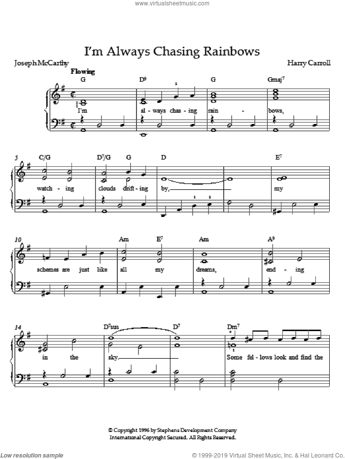 I'm Always Chasing Rainbows sheet music for piano solo by Harry Carroll, intermediate skill level